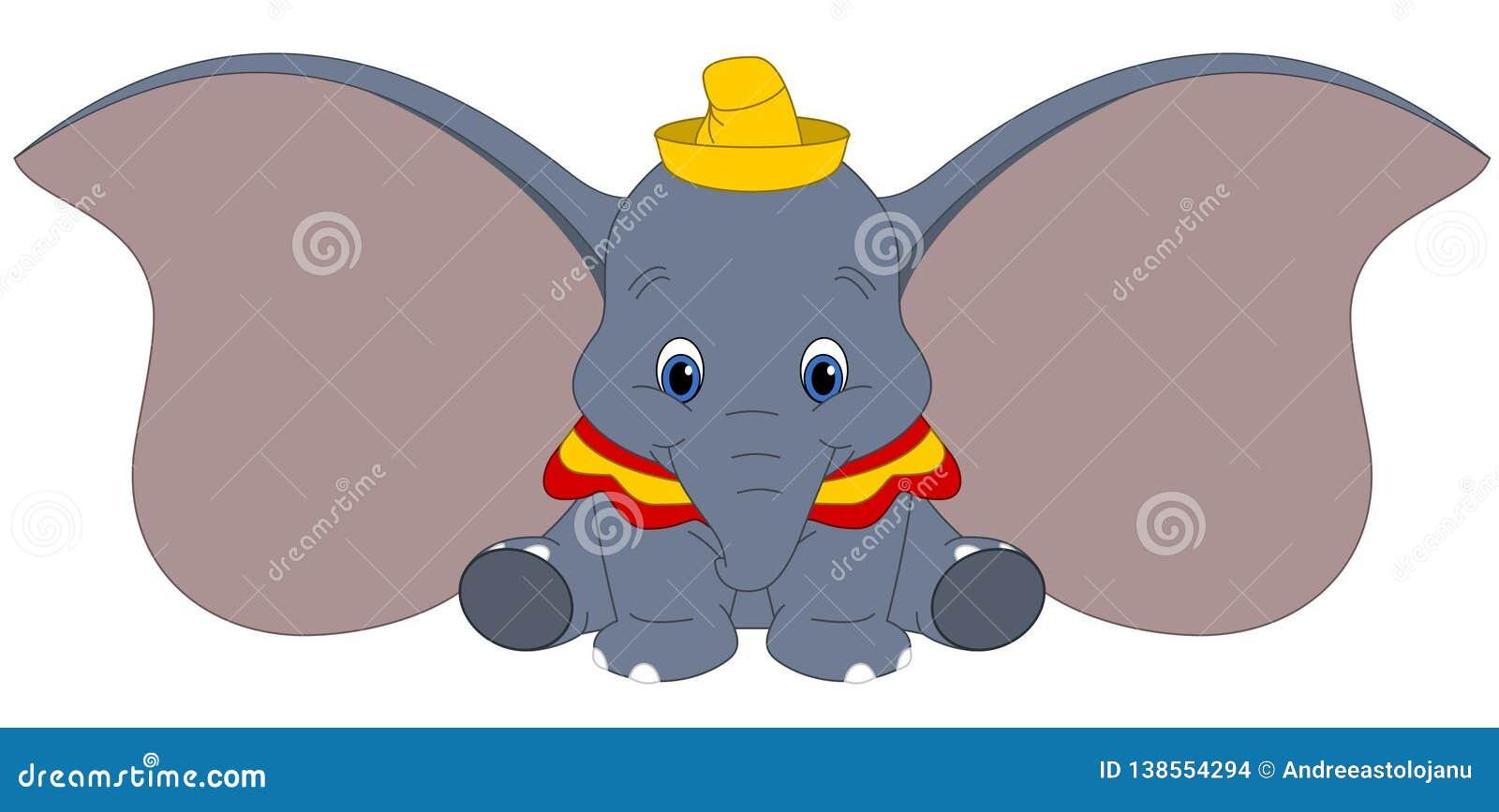 El ejemplo del vector de Disney de Dumbo aisló en el fondo blanco, elefante con los oídos grandes, personaje de dibujos animados