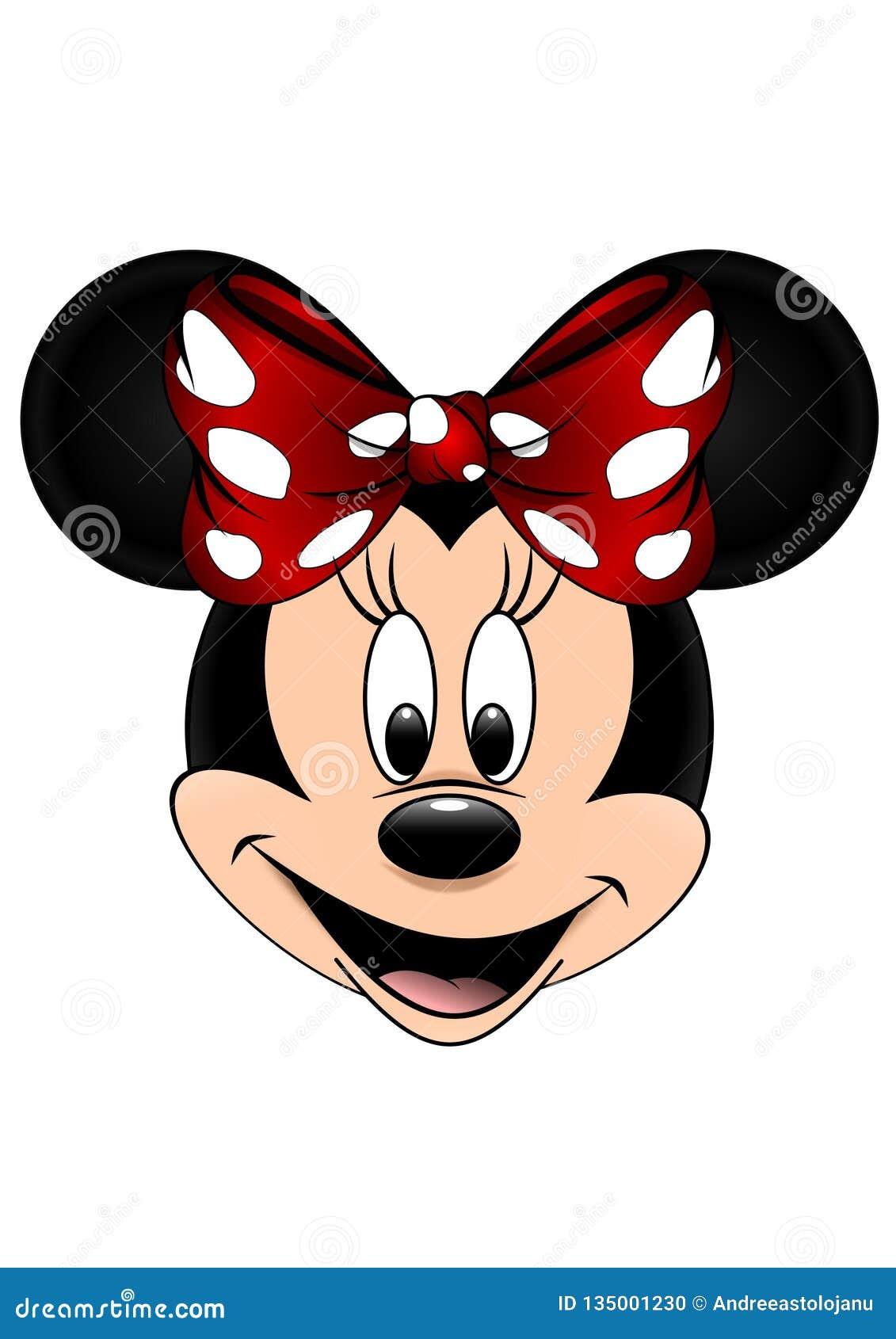 El ejemplo del vector de Disney de Minnie Mouse aisló en el fondo blanco