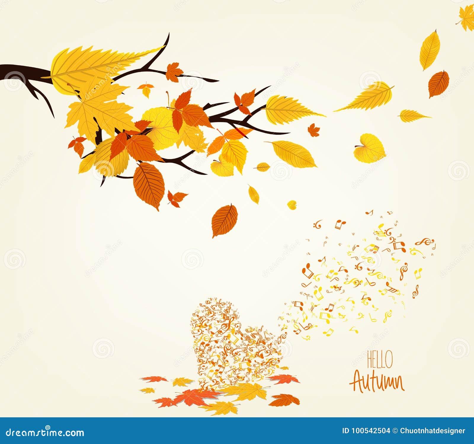 El ejemplo del vector de las hojas de un otoño diseña y el musical es mi alma