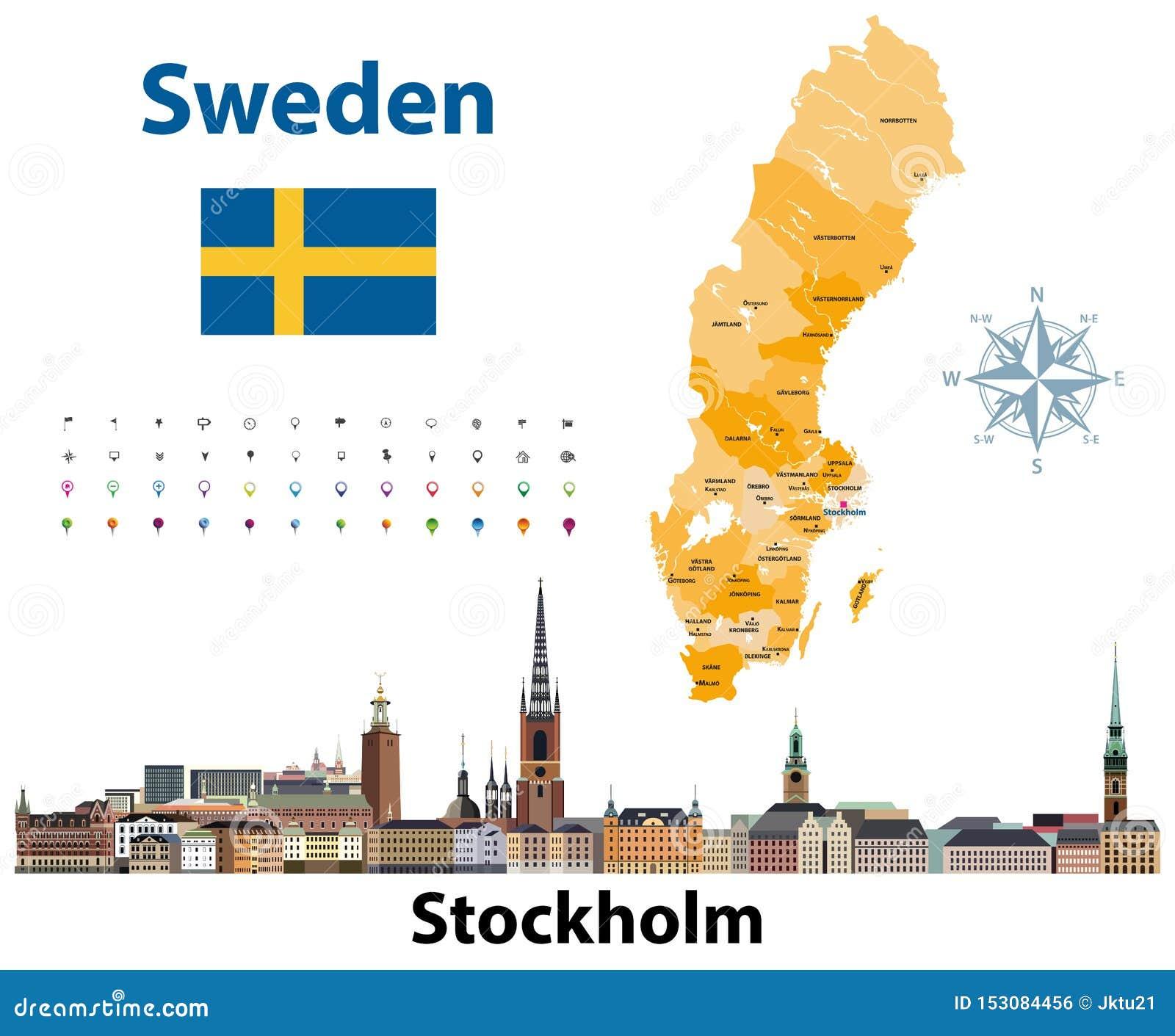 El ejemplo del vector de los condados de Suecia traza con horizonte de la ciudad de Estocolmo