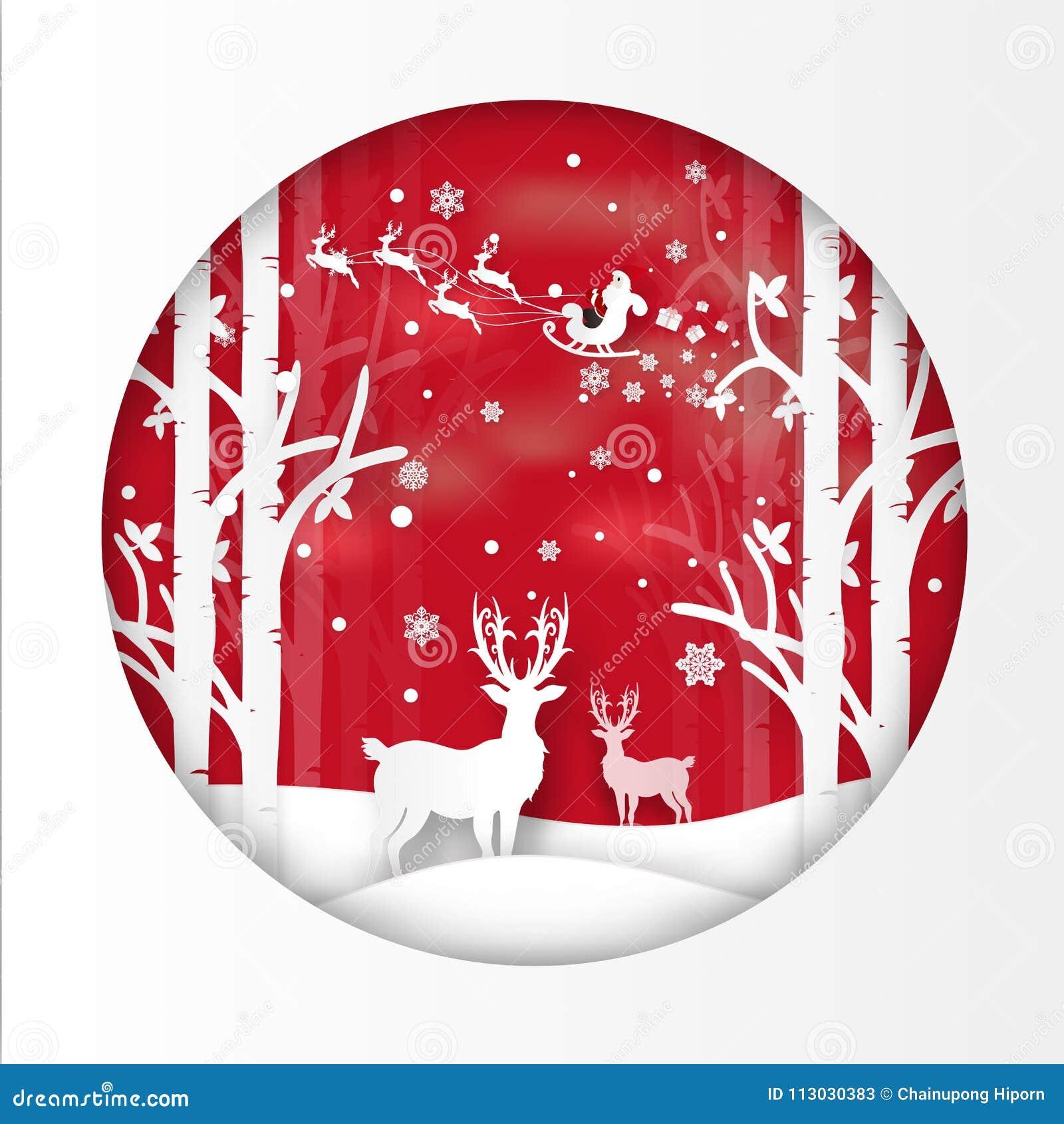 El ejemplo del vector de Santa Claus está viniendo a la ciudad y a los ciervos en bosque con nieve en la estación y la Navidad de