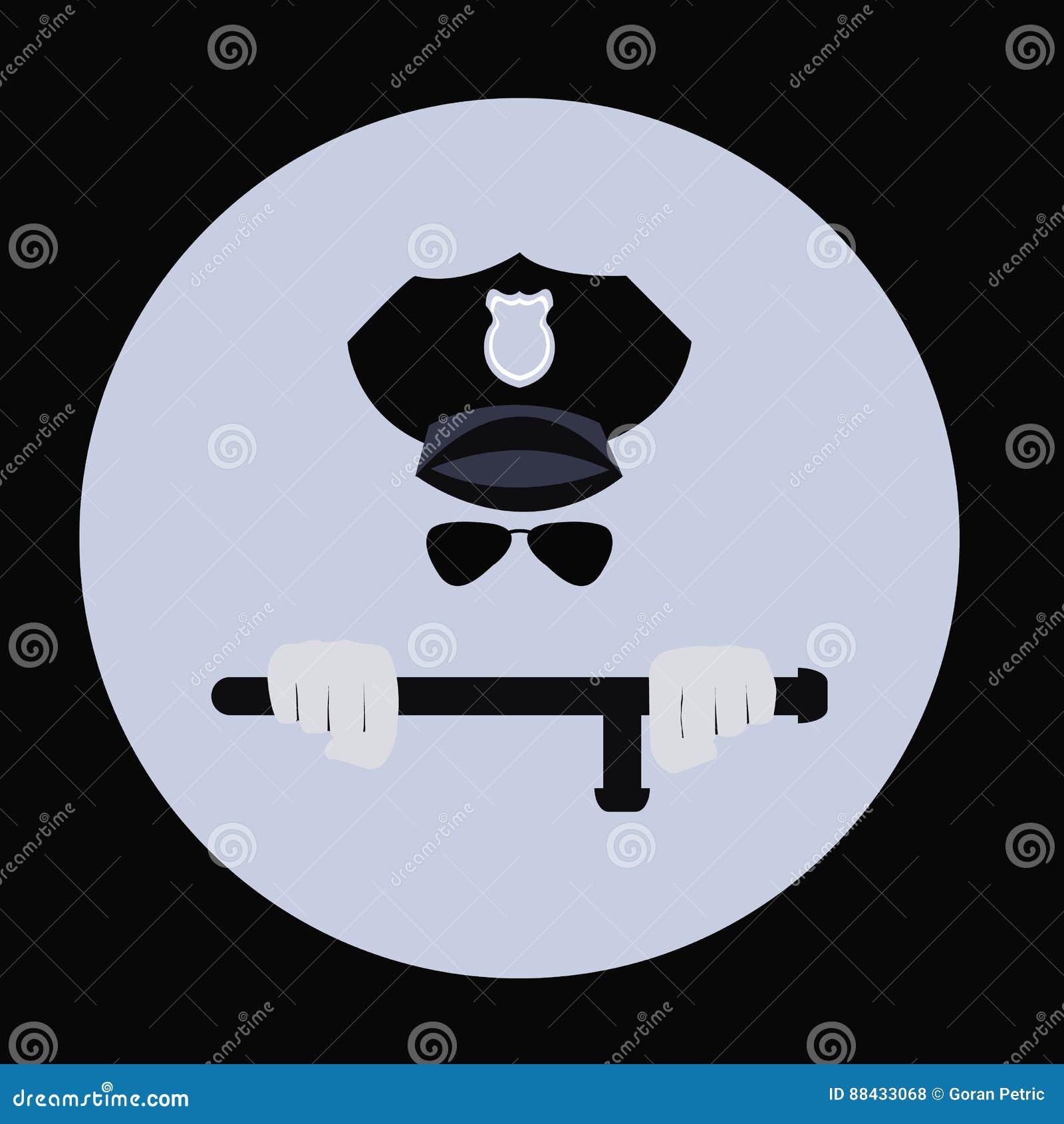 El ejemplo del vector de un oficial de policía que manejaba un bastón de la porra de la matraca fijó la muestra interior que los