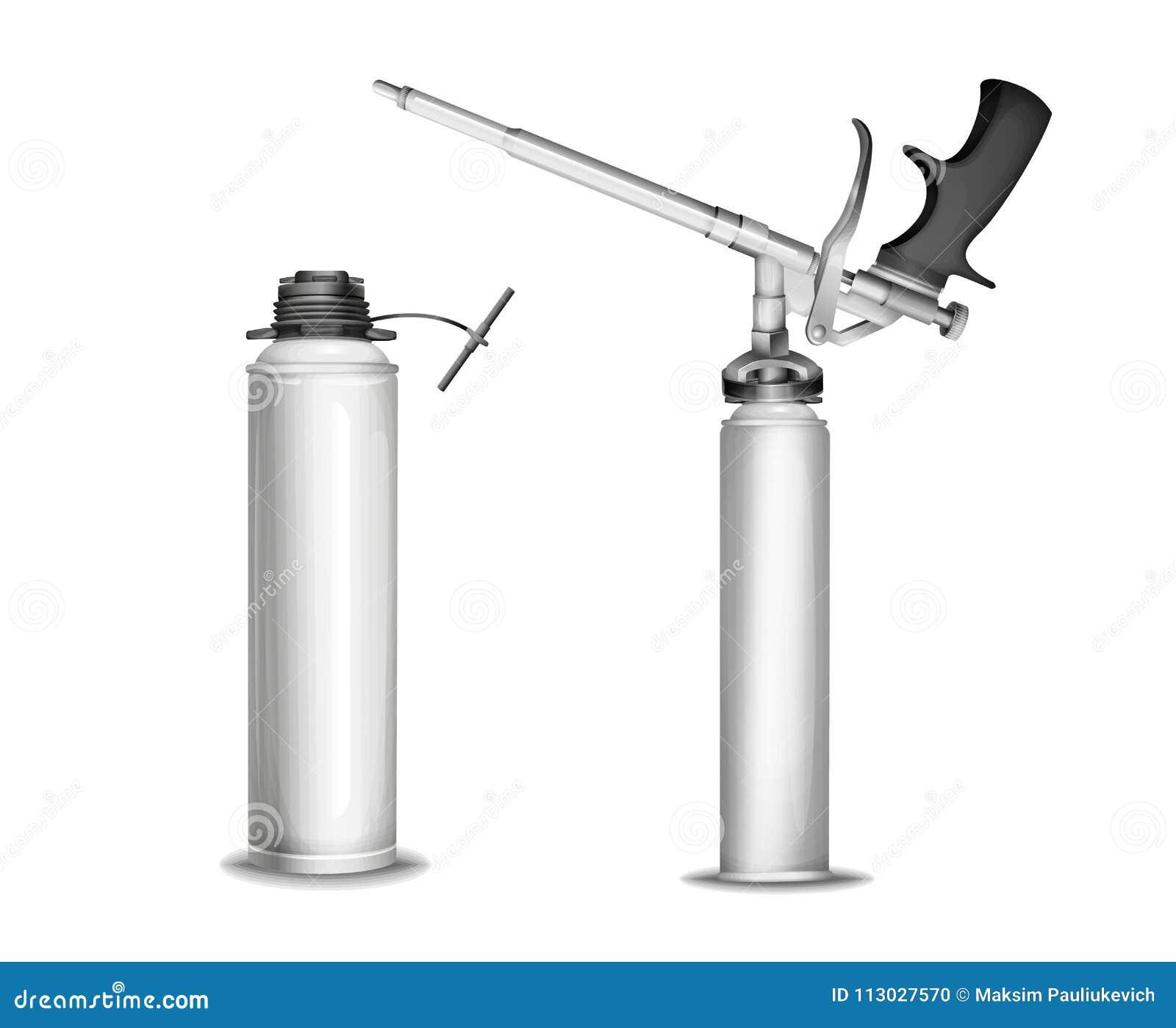 El ejemplo del vector del modelo de la botella de la espuma de la construcción de 3D aisló el mecanismo realista de la maqueta de