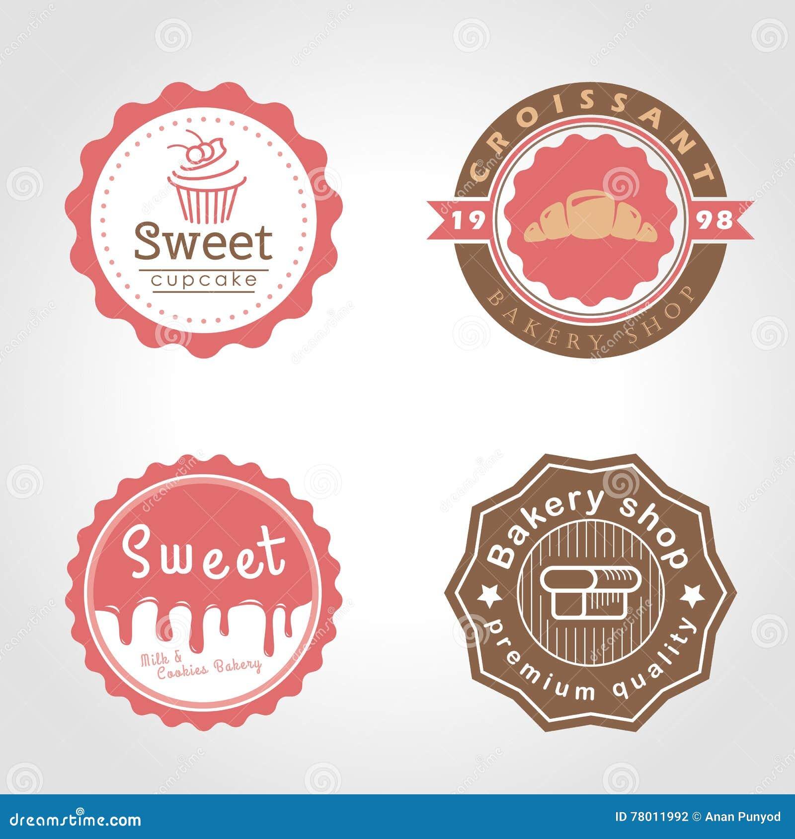El ejemplo dulce del vector del logotipo del círculo de la magdalena y de la panadería y de la tienda de la leche diseña