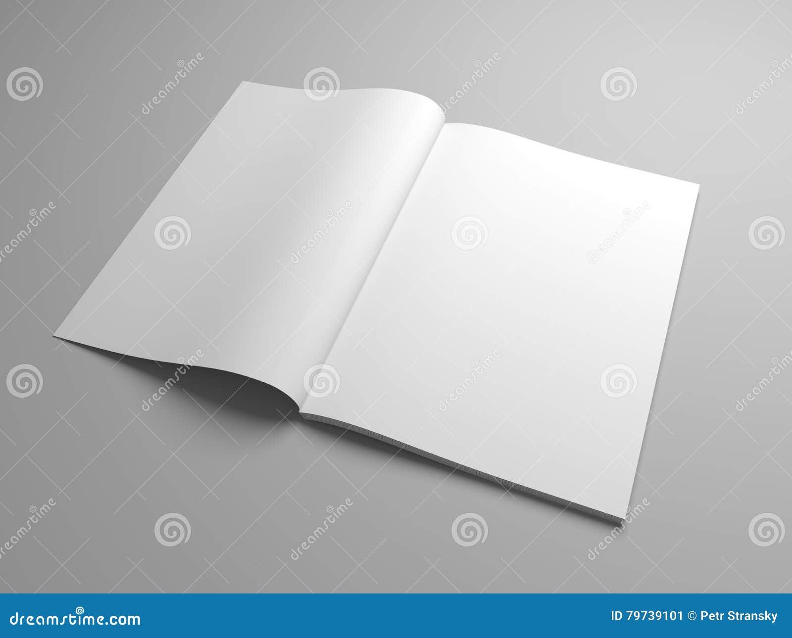 El ejemplo en blanco 3D abrió la revista, el libro, el folleto o el folleto
