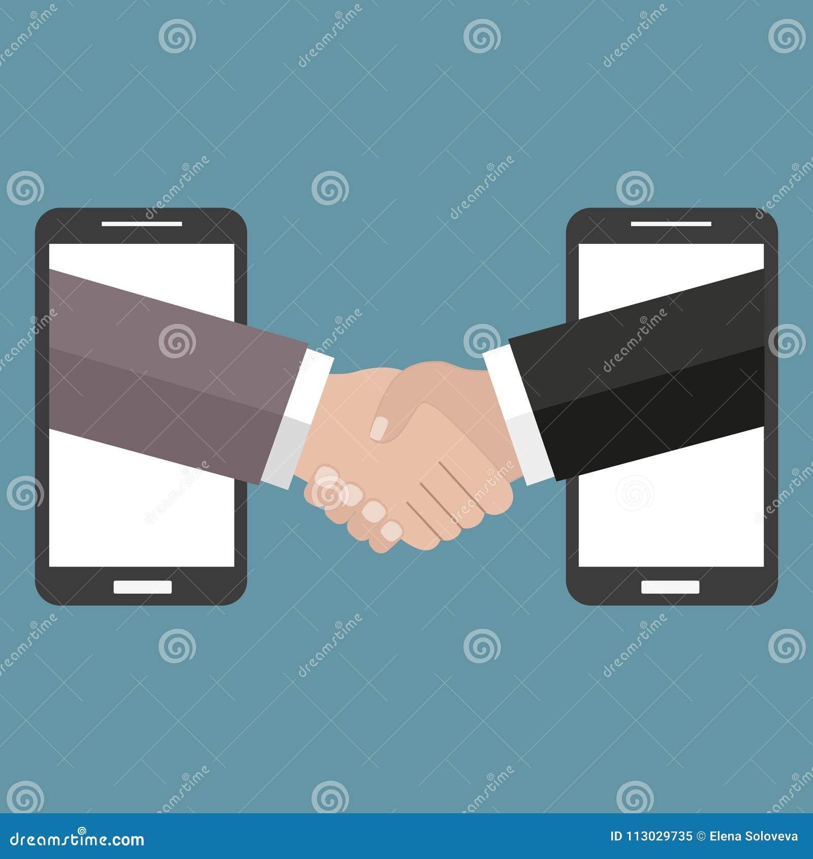 El ejemplo en estilo linear negro externaliza el negocio y el trabajo remoto - apretón de manos y teléfonos móviles en un fondo v