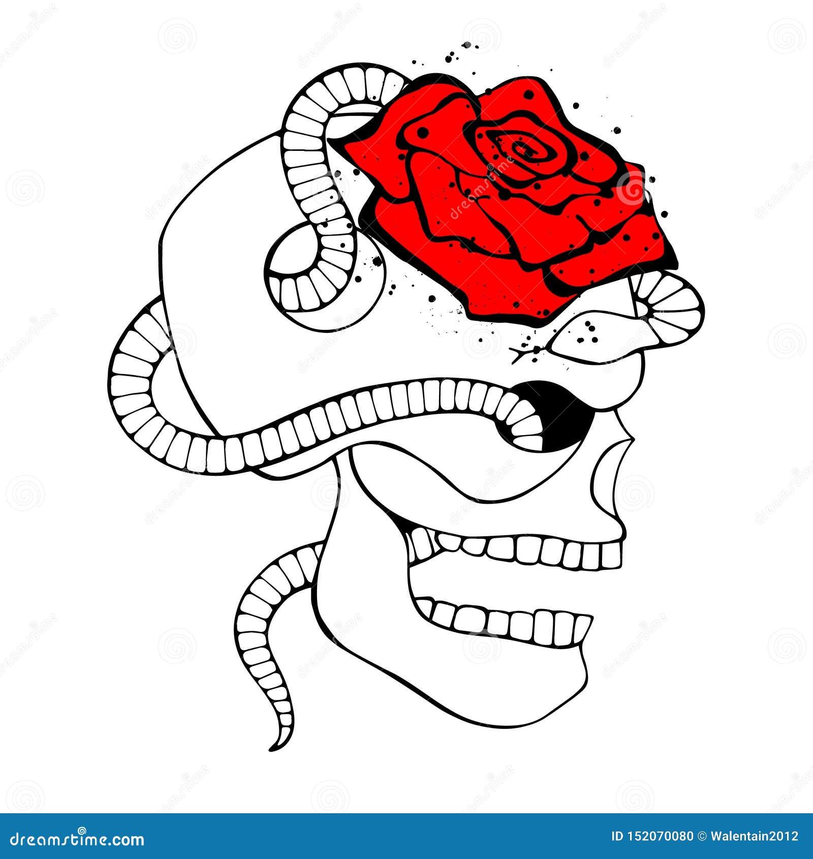 El ejemplo exhausto de la mano roja blanca del negro del vector, cráneo con la serpiente, subió diente, cara de la silueta del ho