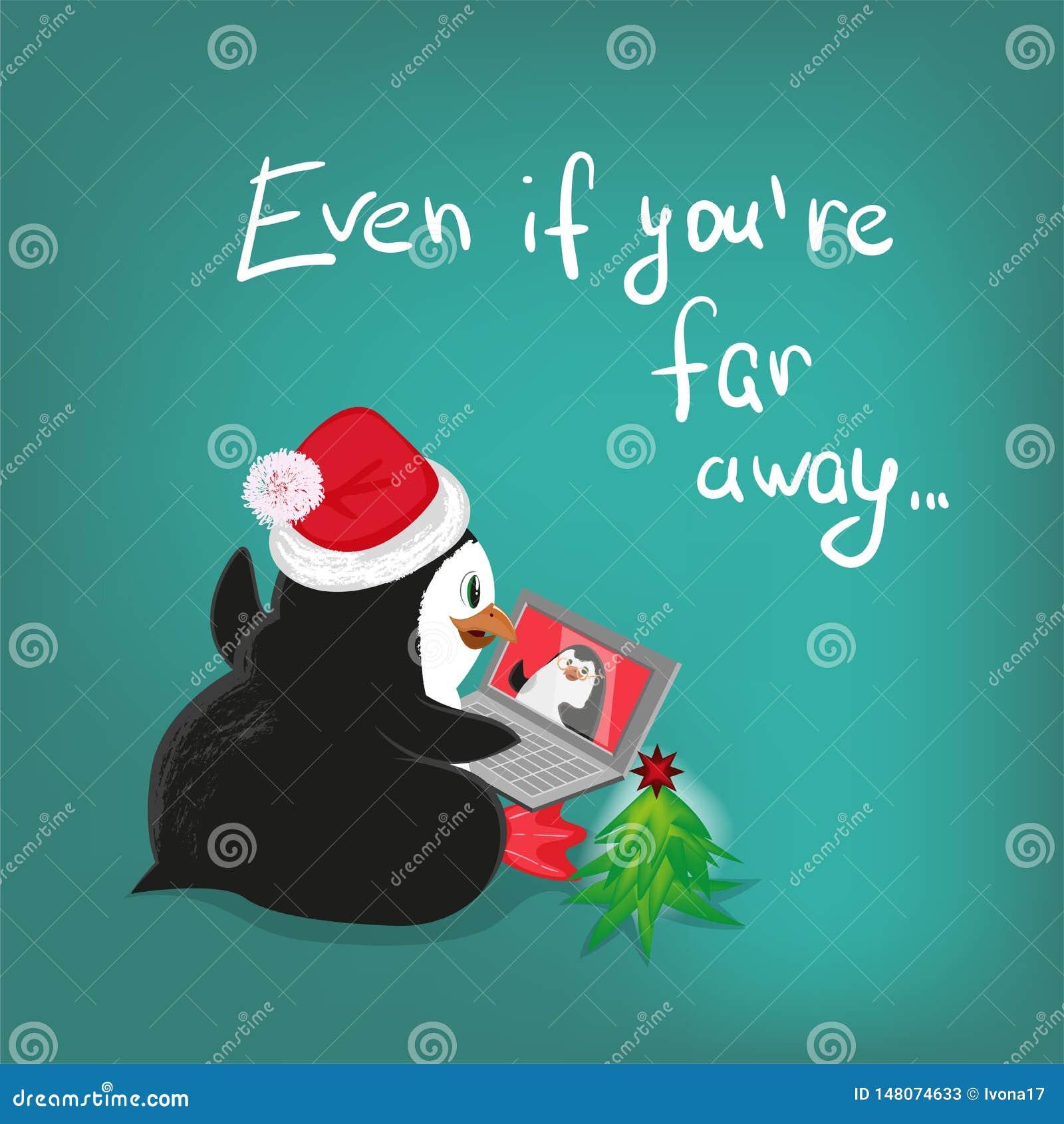 El ejemplo greating de la historieta del vector de la tarjeta de Navidad de la comunicación del ordenador portátil del pingüino,