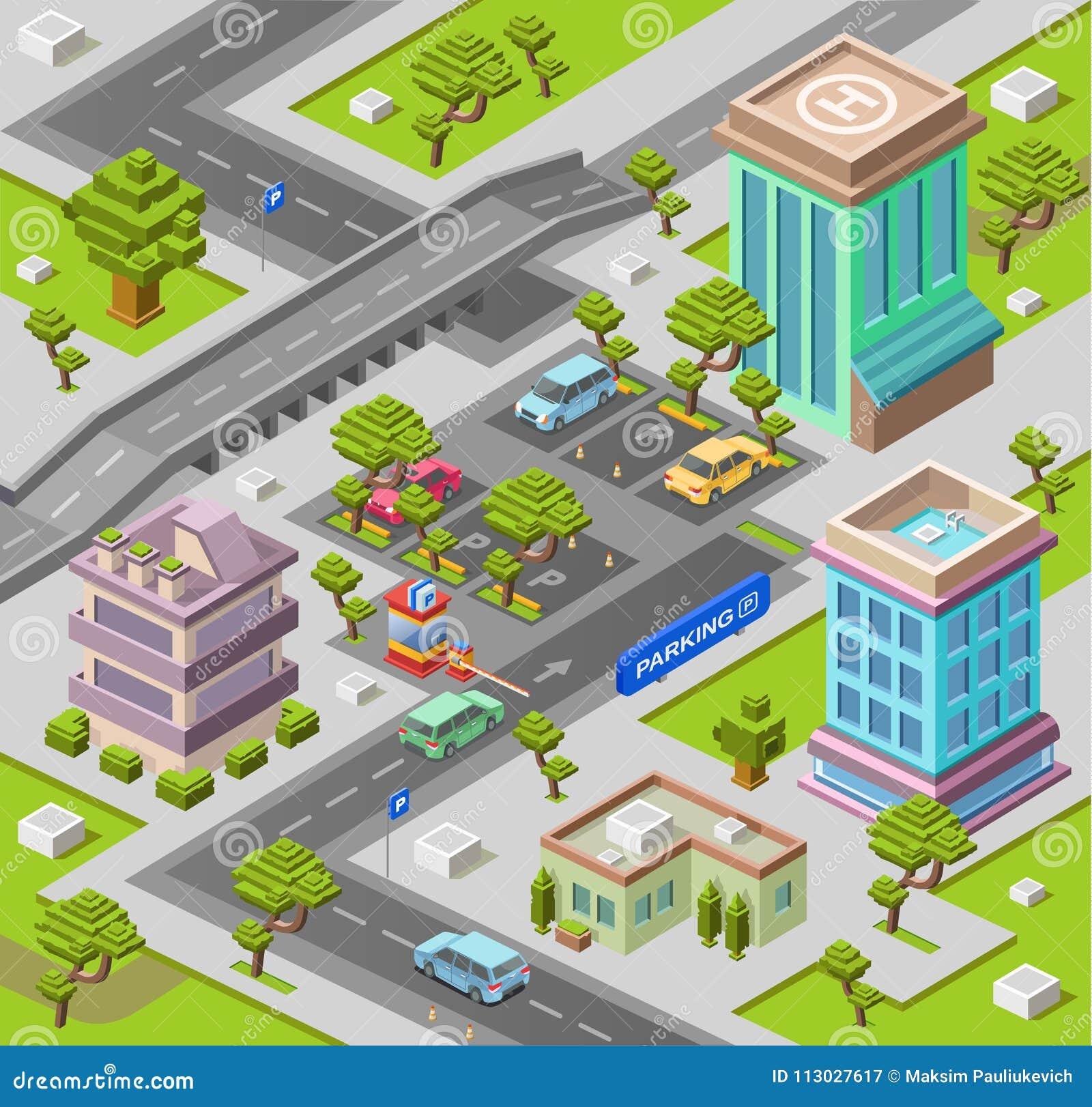 El ejemplo isométrico del vector 3D del estacionamiento de la ciudad de edificios de oficinas urbanos modernos y aparcamiento de