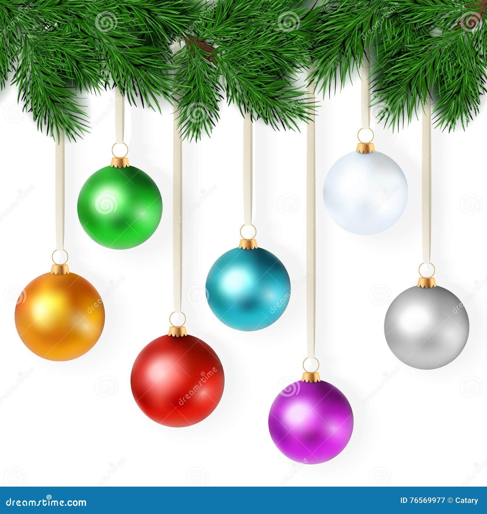9578b1e6402 El ejemplo realista del vector con el sistema de bolas coloridas brillantes  de la Navidad está colgando en una rama del árbol de navidad
