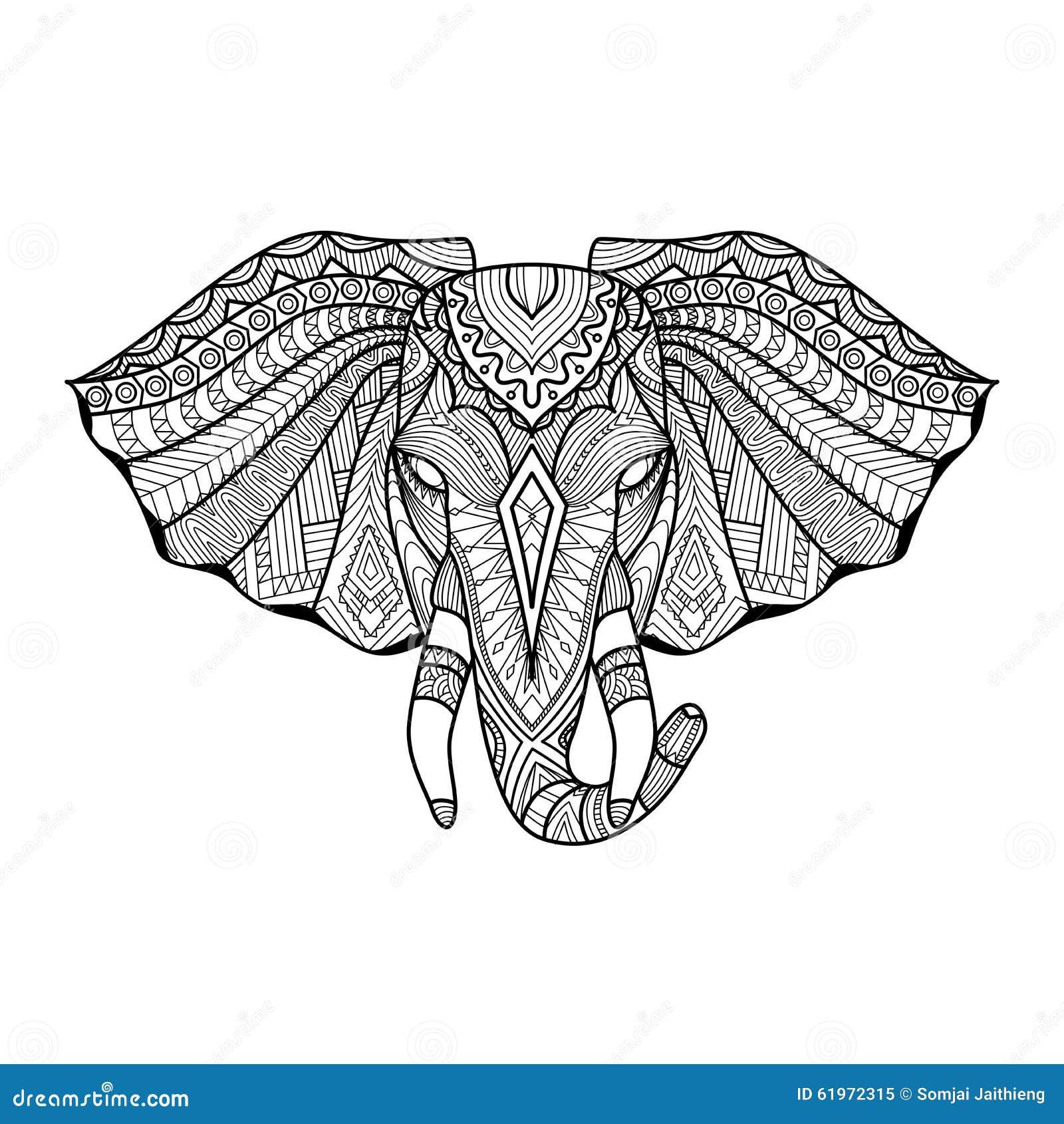 El Elefante étnico único De Dibujo Va A La Impresión, Modelo ...