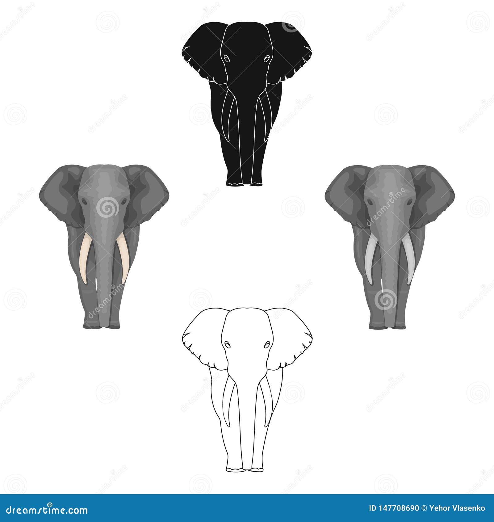 El elefante, el animal salvaje m?s grande Elefante africano con el solo icono de los colmillos en la historieta, símbolo negro de