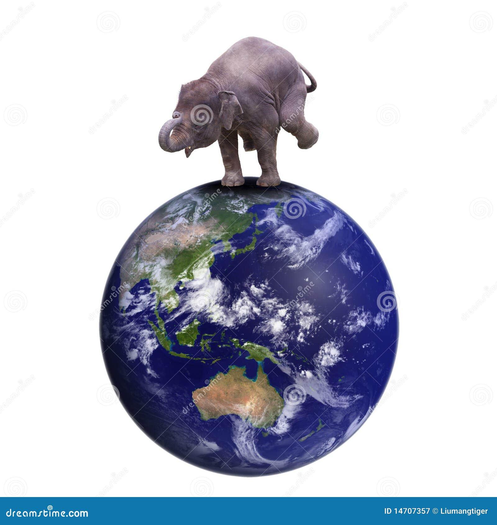 El elefante se coloca en la tierra