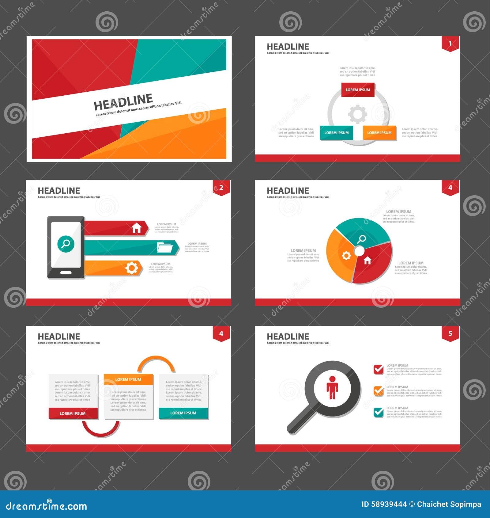 El Elemento Infographic Verde Y Verde Rojo Y El Diseño Plano De Las ...