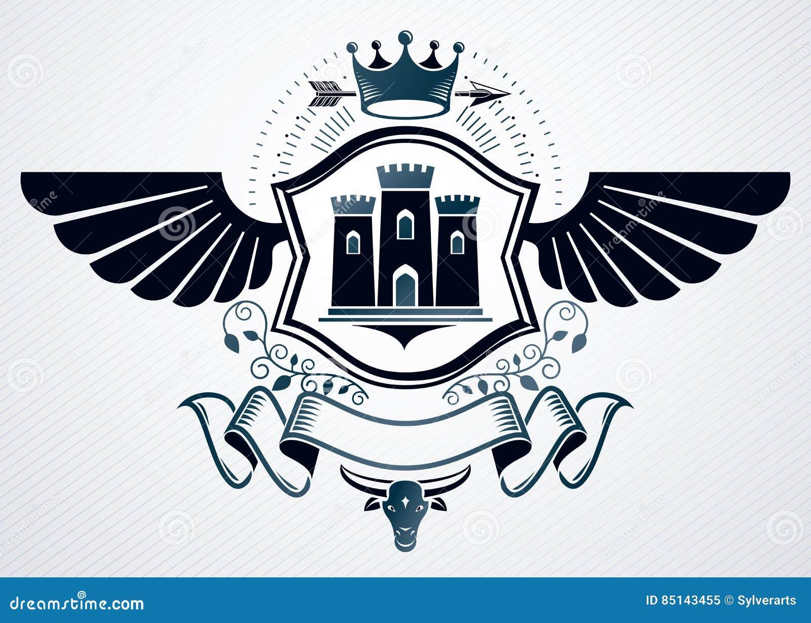 El emblema con clase hecho con el águila se va volando la decoración, castillo medieval