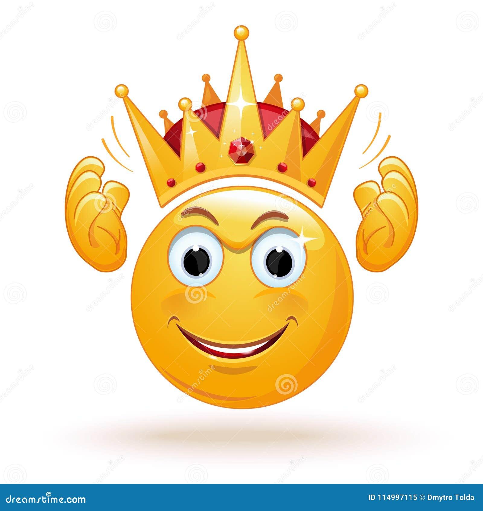 El Emoticon Del Rey Lleva Una Corona Ilustración Del Vector