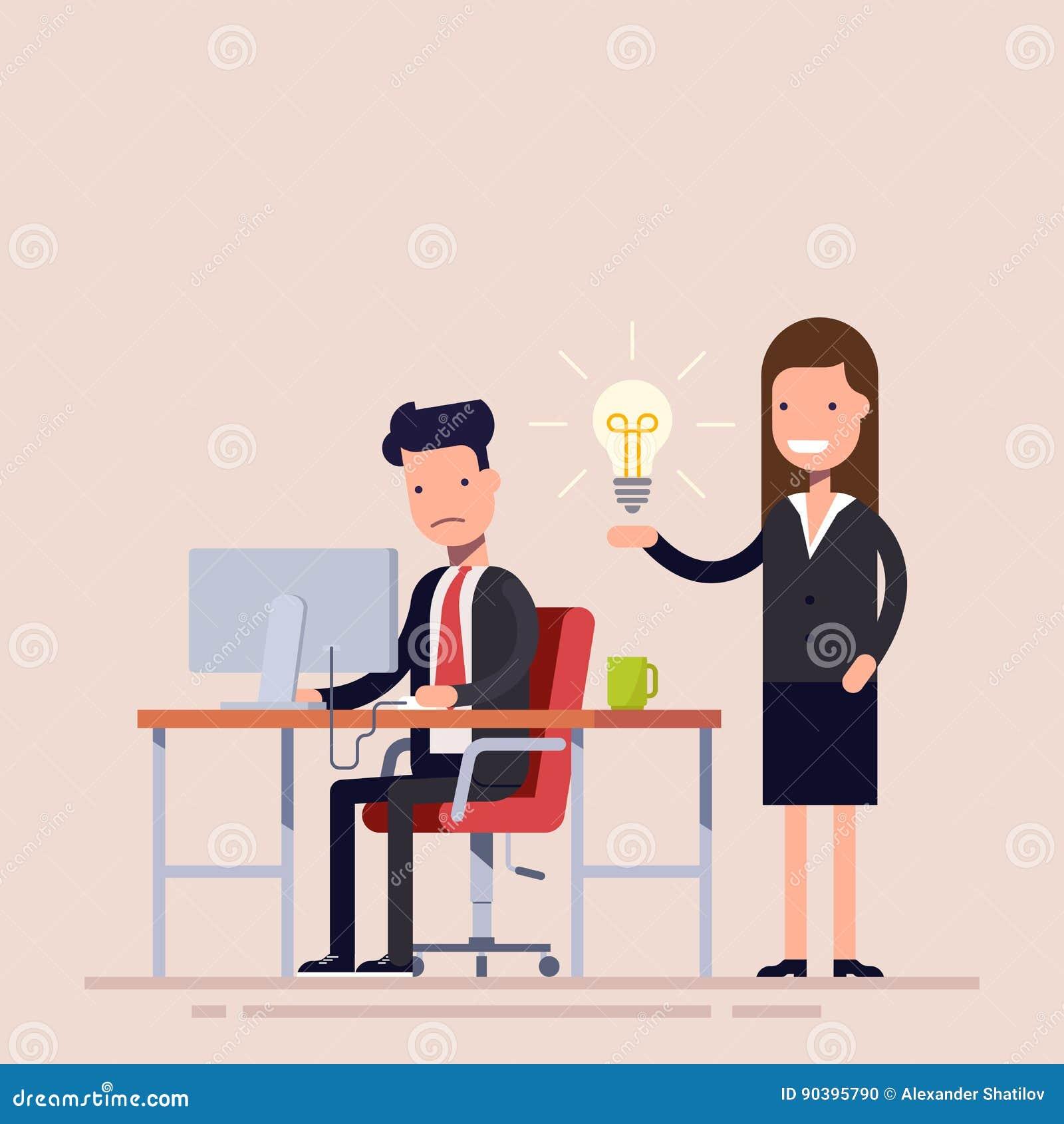 El empleado ayuda con la idea de un colega que está en la desesperación Ayuda en una situación difícil Flujo de trabajo en la ofi