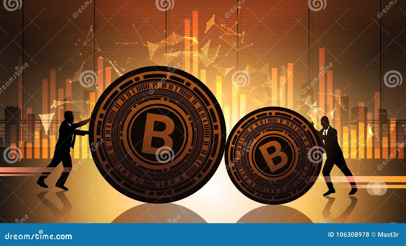 El empuje Bitcoin de dos hombres de negocios sobre datos de la estadística traza el dinero Crypto del web de Digitaces del concep