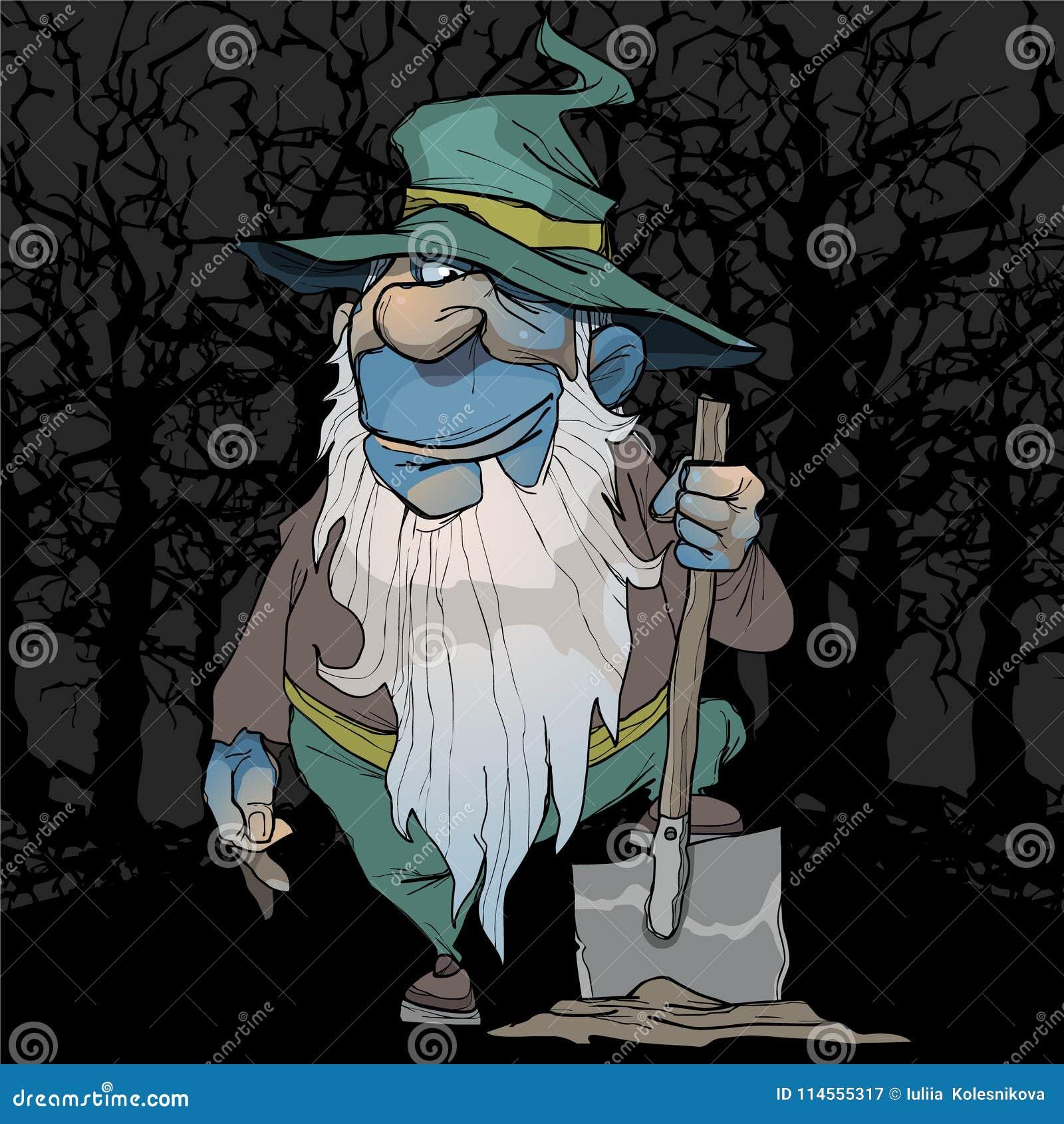 El enano azul de la historieta se coloca con una pala en el bosque de la noche