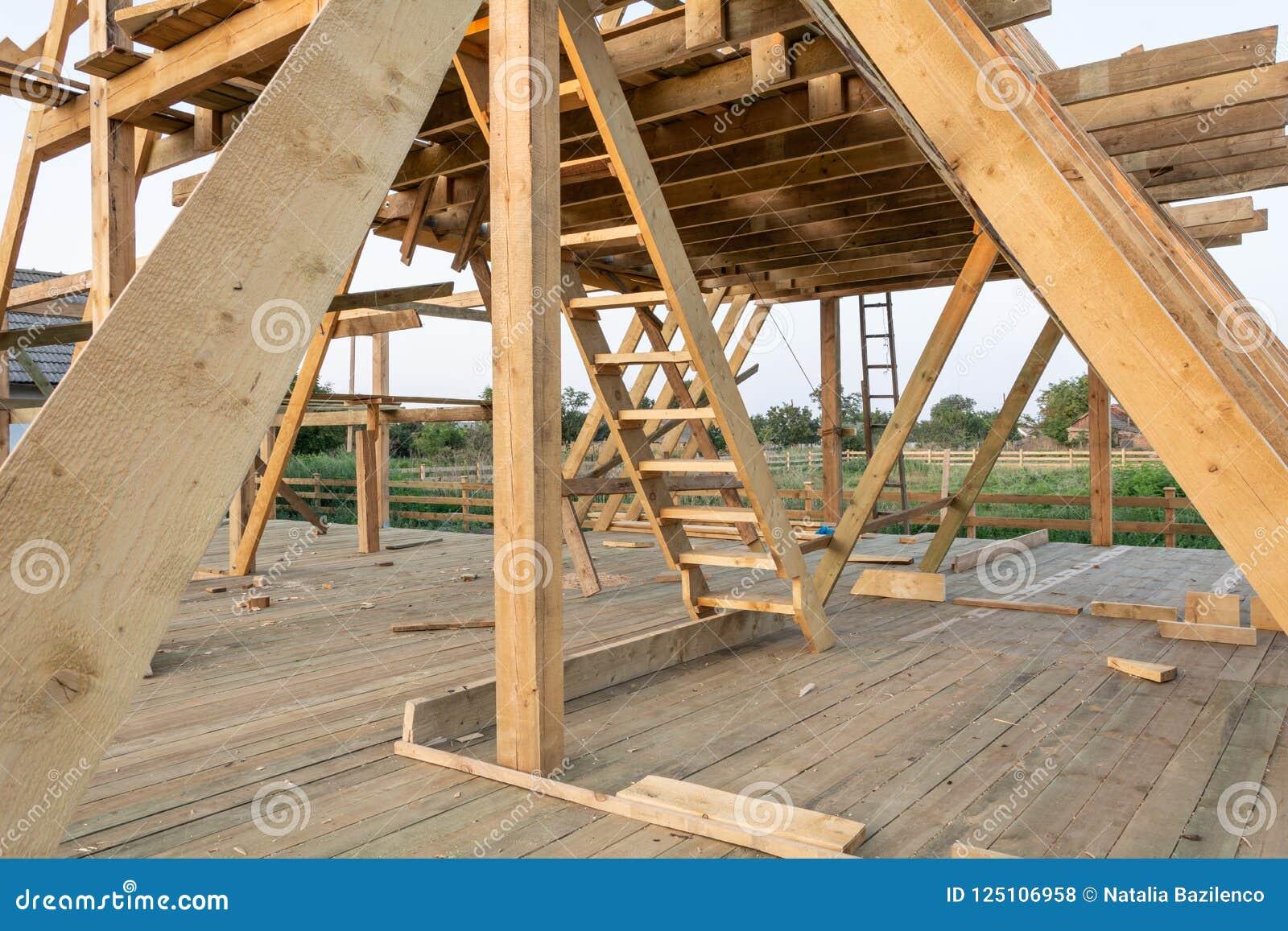 El enmarcar casero de la nueva construcción contra el cielo azul en la puesta del sol