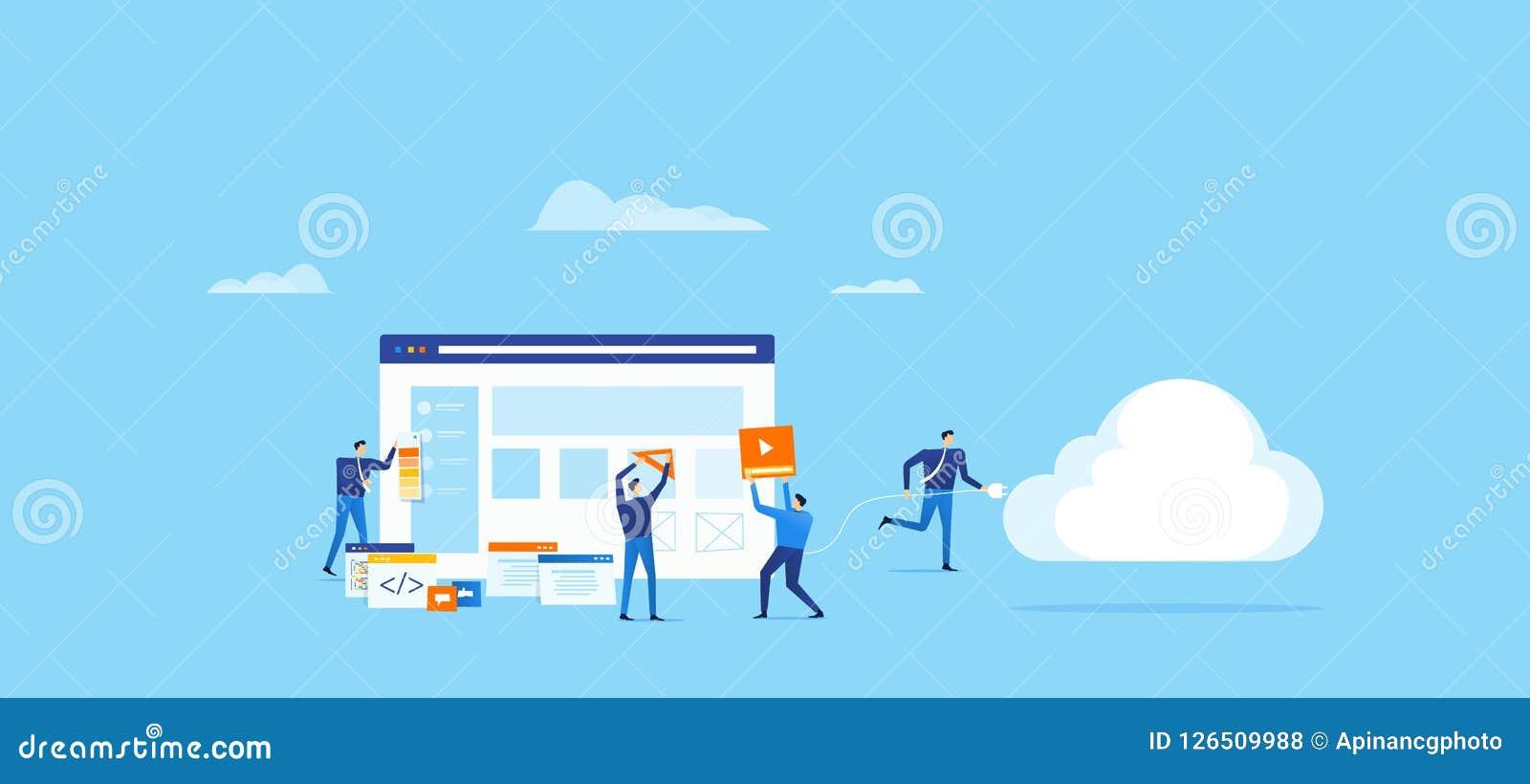 El equipo del programador y de diseño se convierte para la aplicación web y conecta con la computación de la nube