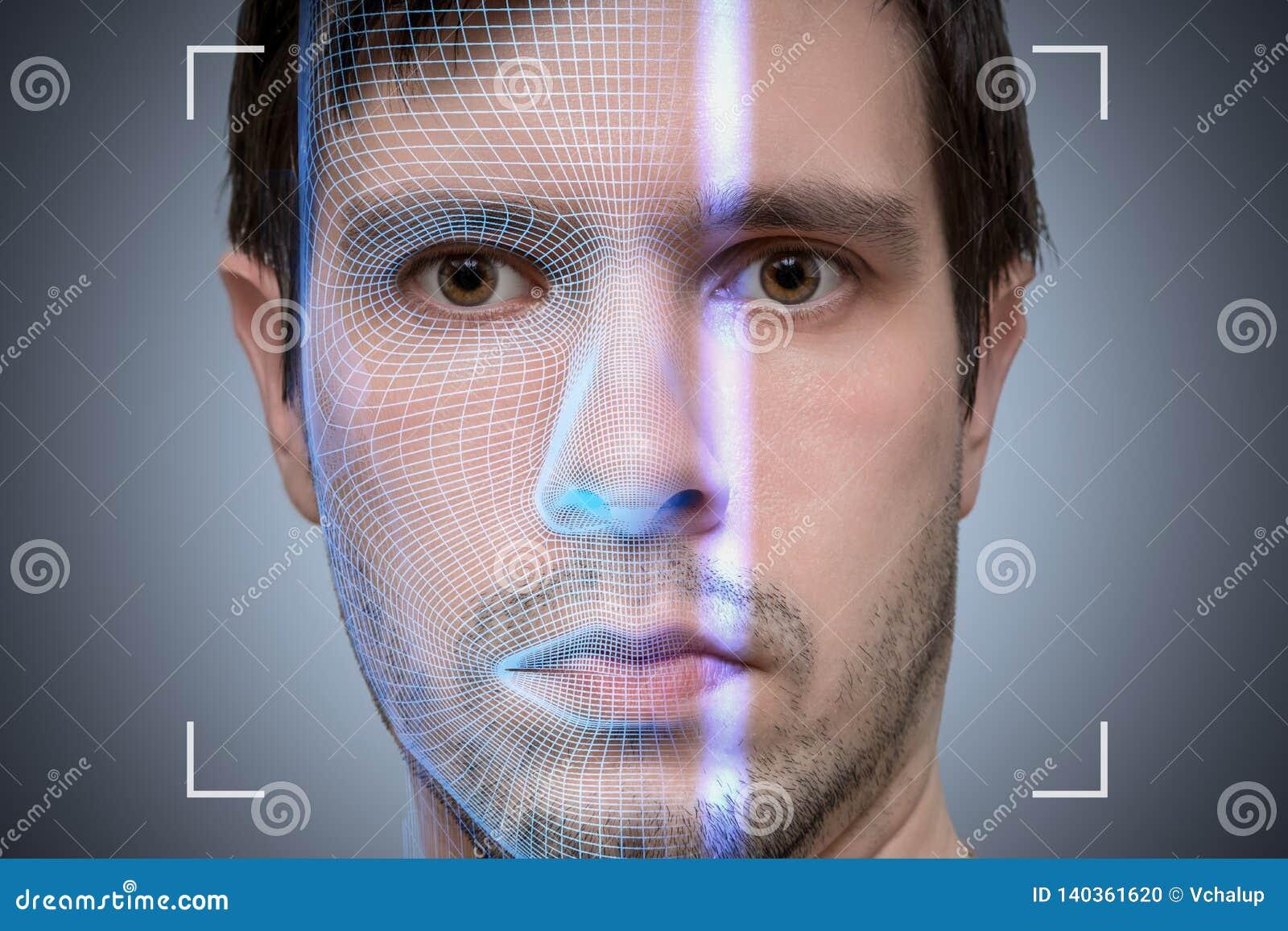 El escáner biométrico está explorando la cara del hombre joven Concepto de la inteligencia artificial