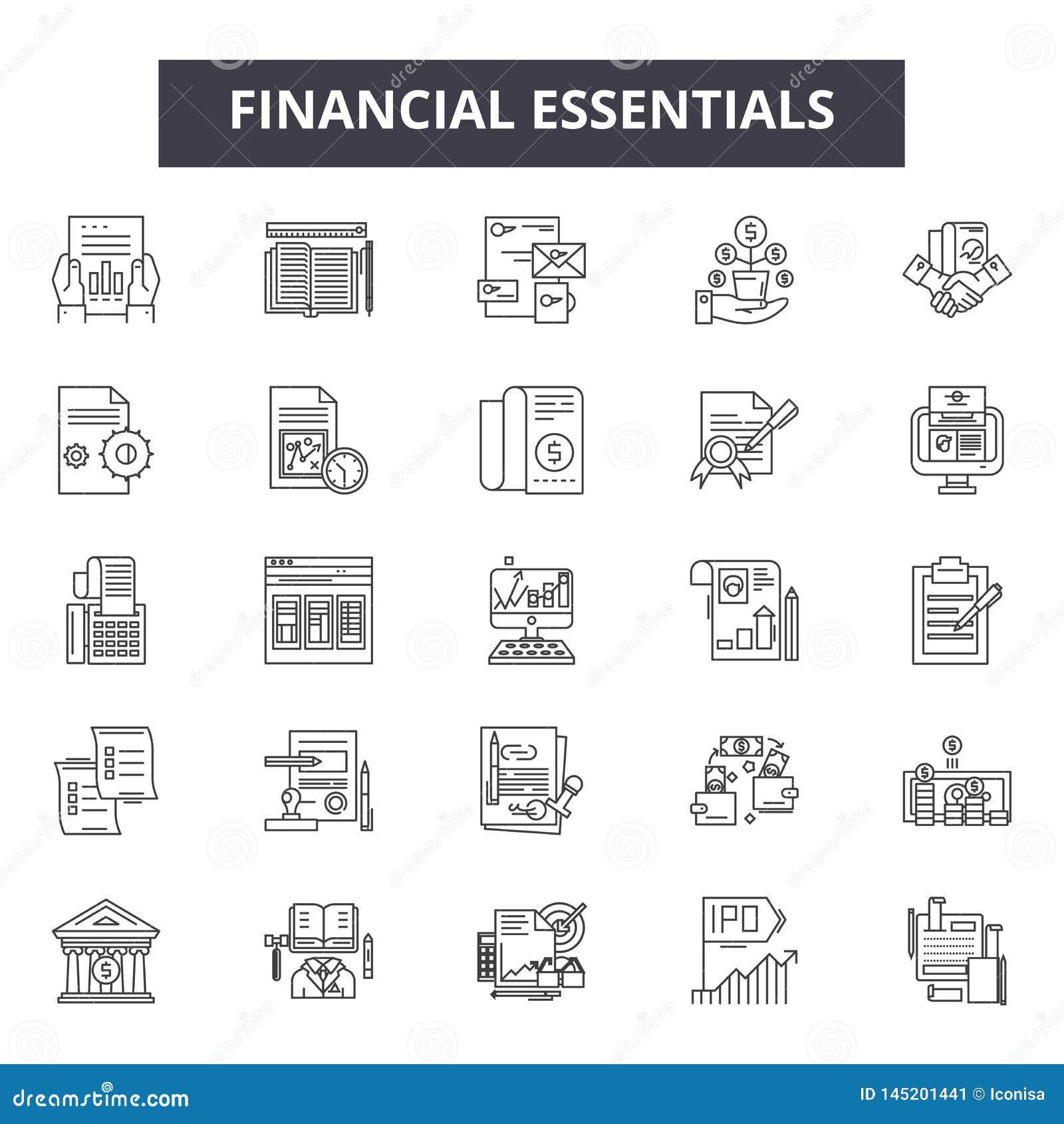 El esencial financiero alinea los iconos, muestras, sistema del vector, concepto del ejemplo del esquema