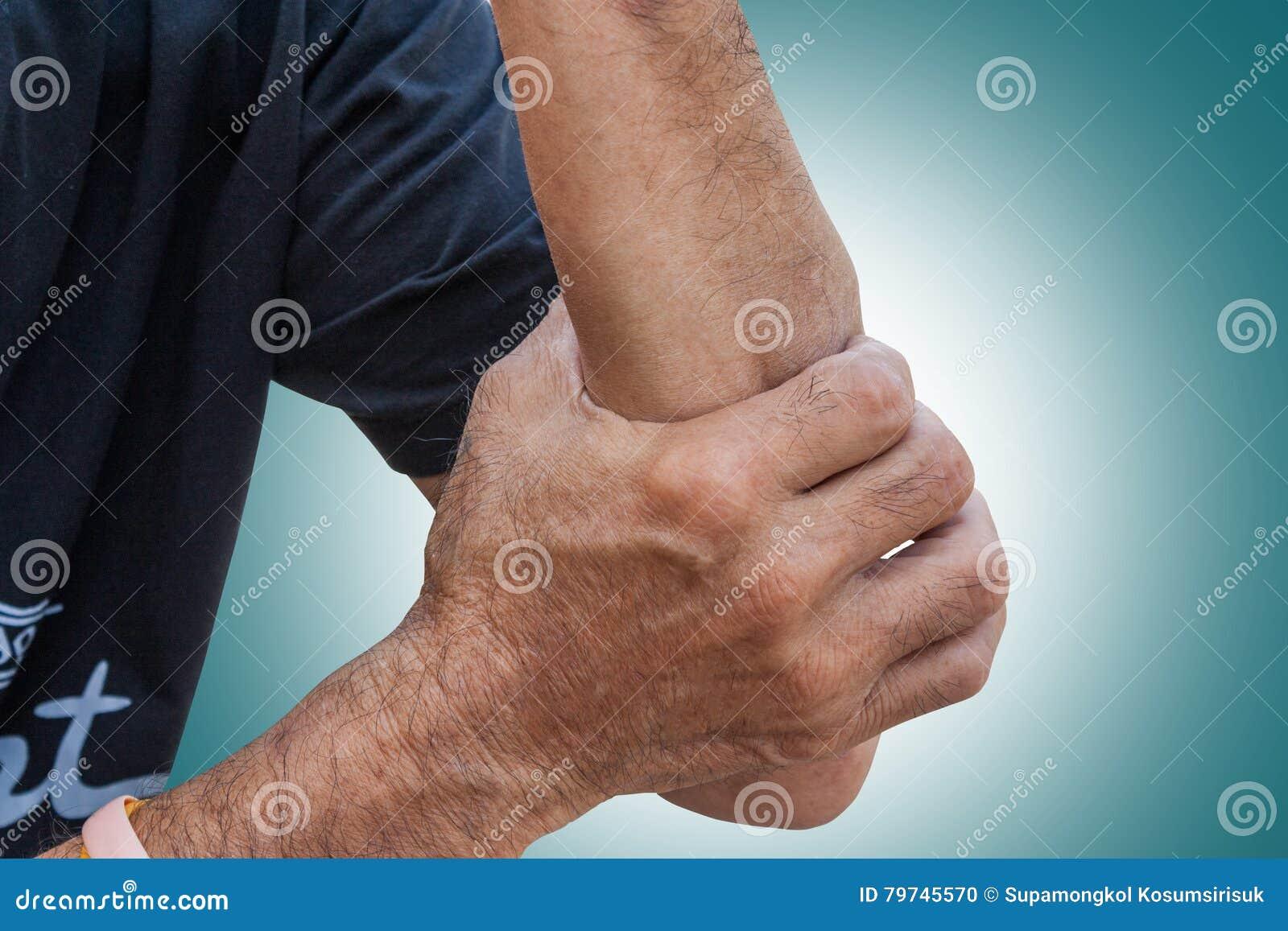 El esguince Los músculos tensen en la mano del viejo hombre en fondo