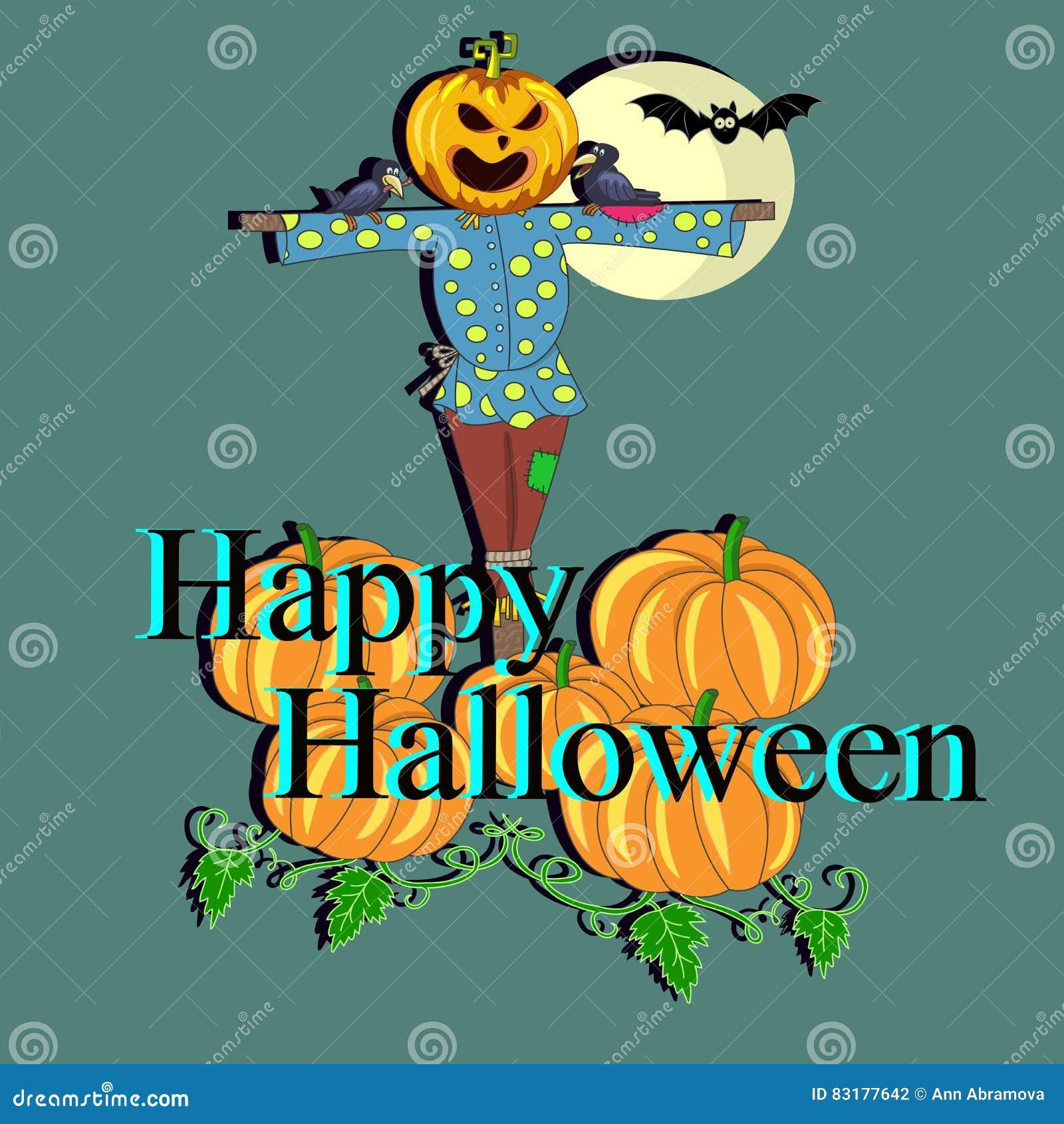 El espantapájaros asustadizo con una calabaza en su cabeza para invitar a Halloween