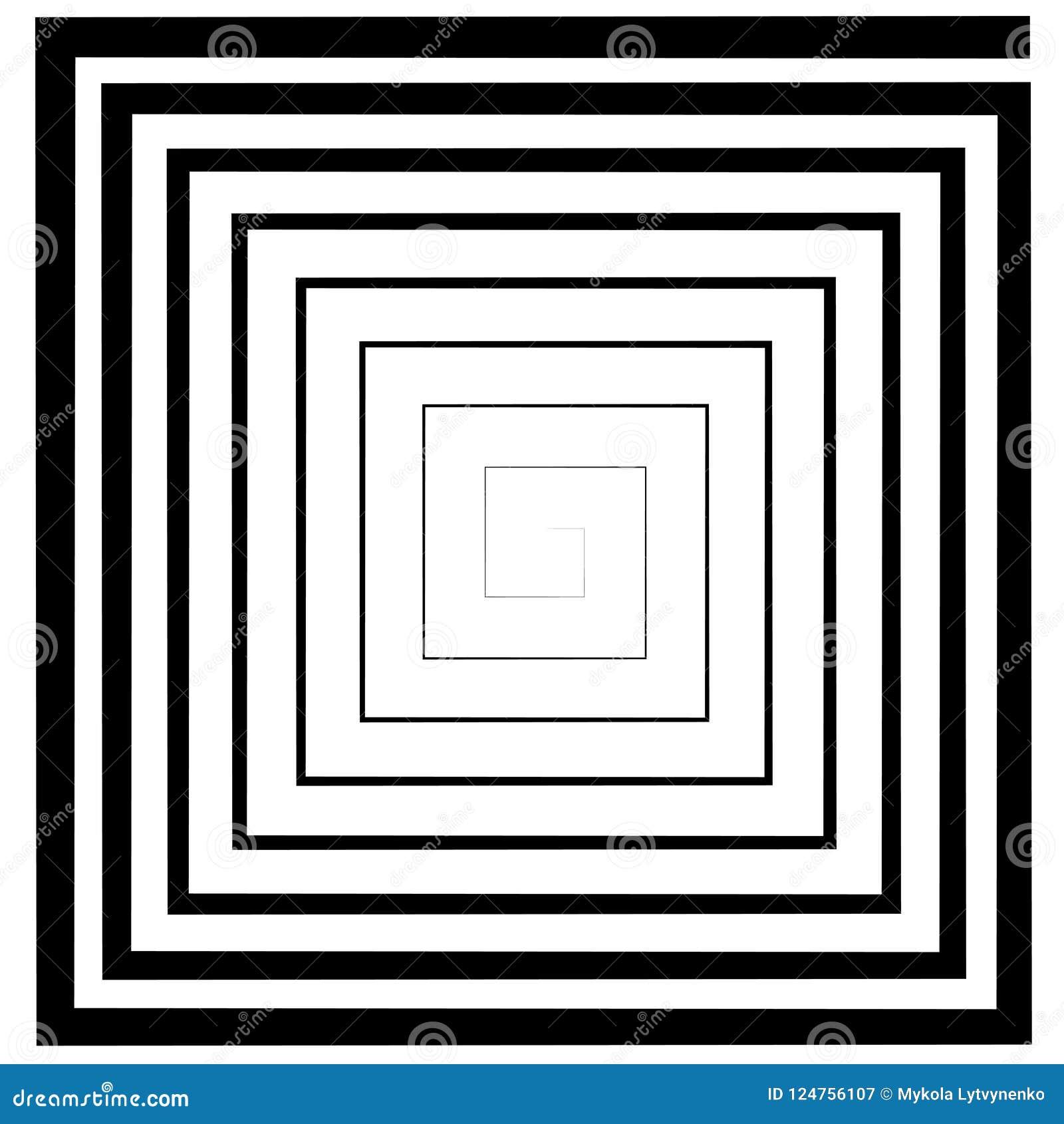 El Espiral Cuadrado, Laberinto, Vector El Efecto óptico Del ...