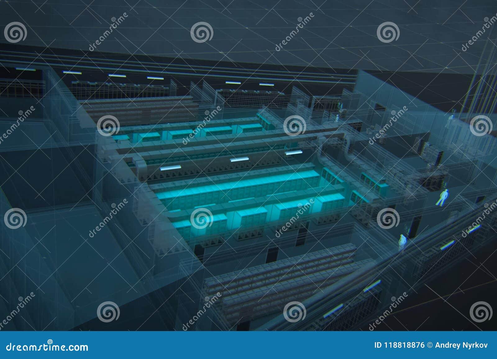 El esquema básico 3d es el centro de datos
