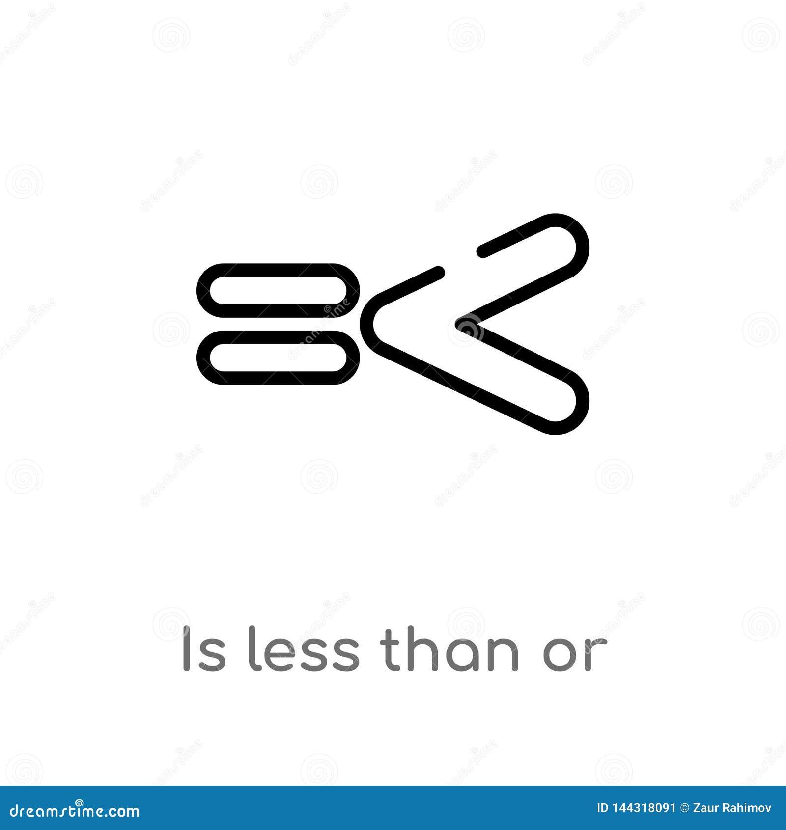 El esquema es inferior o igual icono del vector línea simple negra aislada ejemplo del elemento del concepto de las muestras Vect