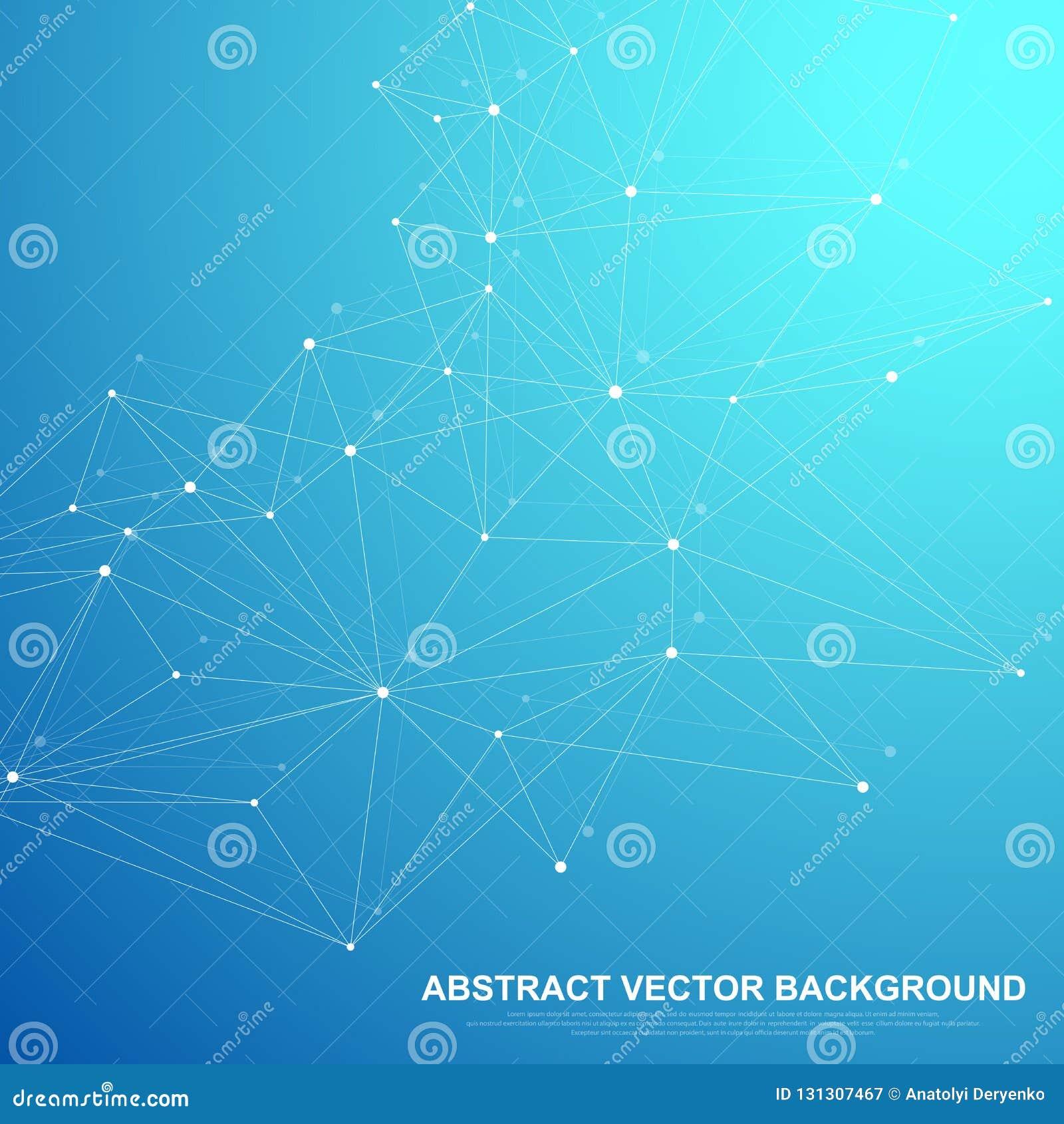 El establecimiento de una red conecta concepto abstracto de la tecnología Conexiones de red global con los puntos y las líneas