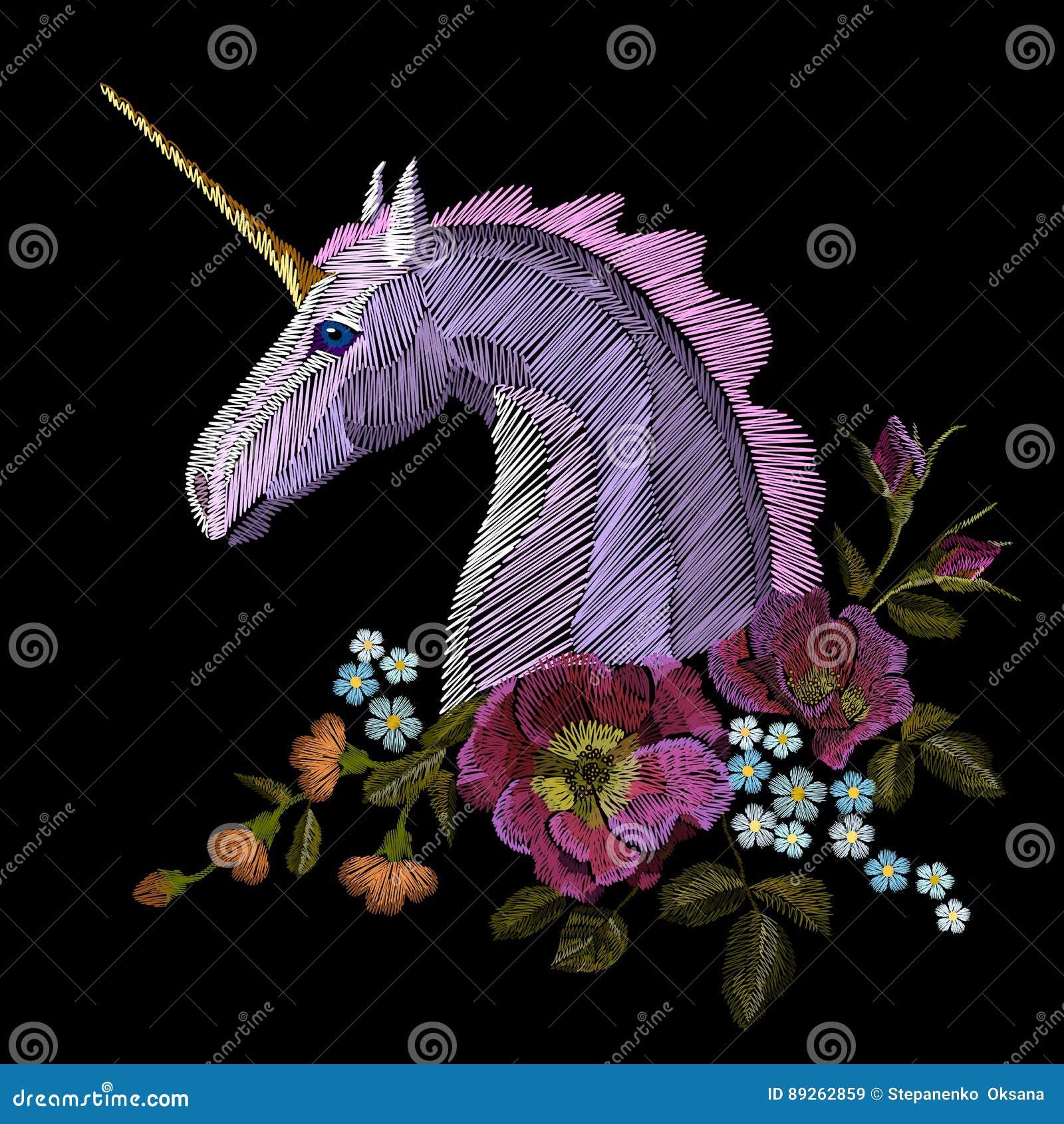 El estampado de flores colorido del bordado con las rosas de perro y me olvida no las flores la gente tradicional del vector del