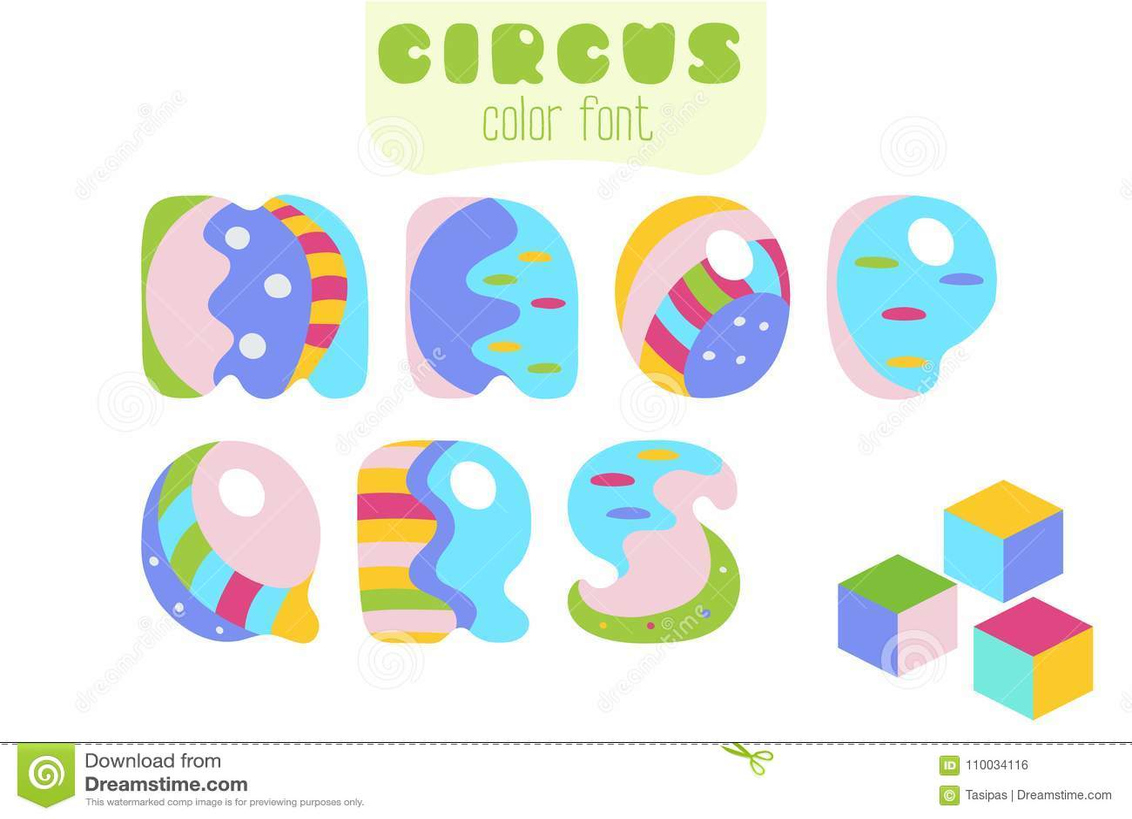 El estilo de la historieta letra M, N, O, P, Q, R, S y bloques del juguete