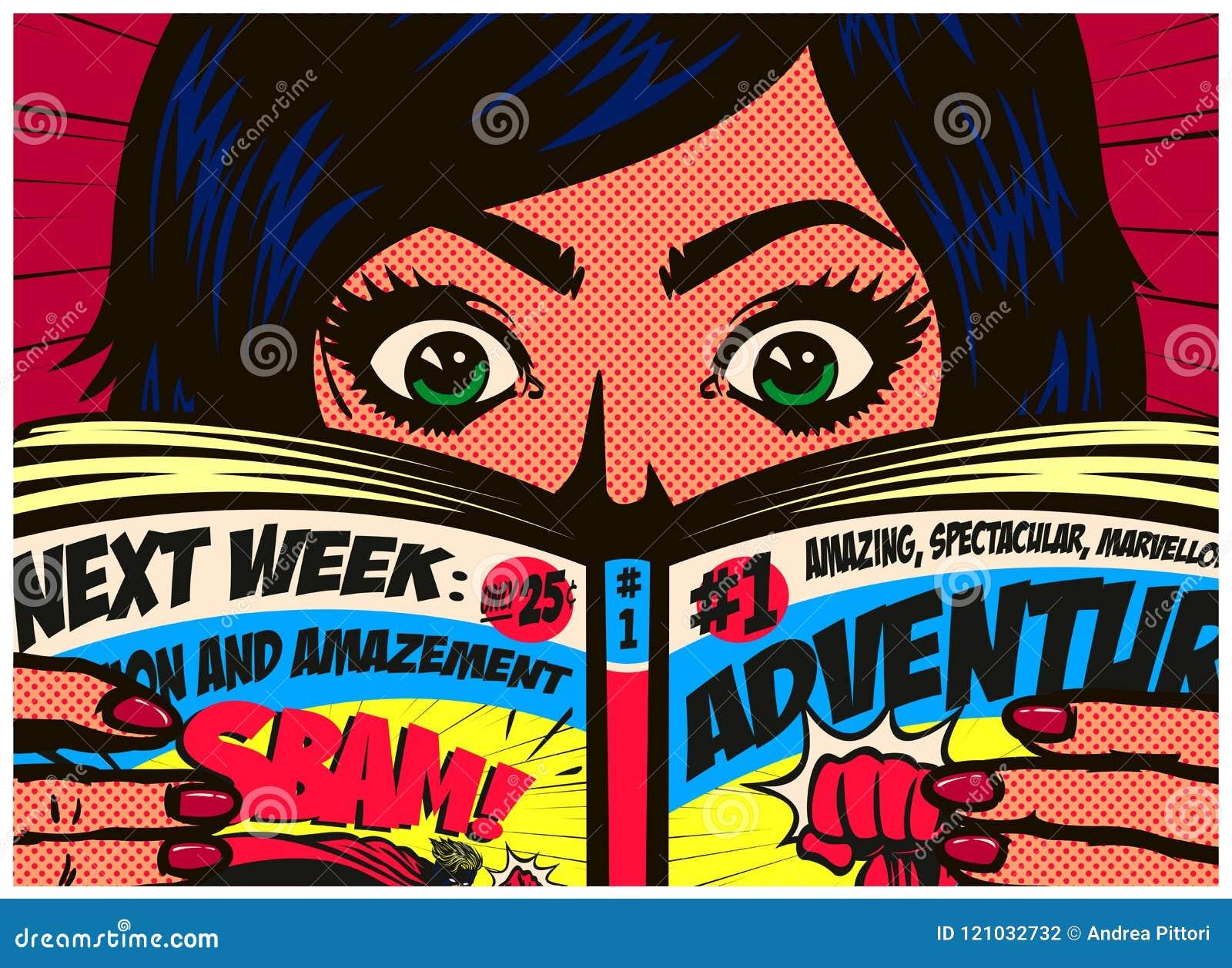 El estilo de los tebeos del arte pop excitó el ejemplo del vector del cómic de la lectura de la muchacha