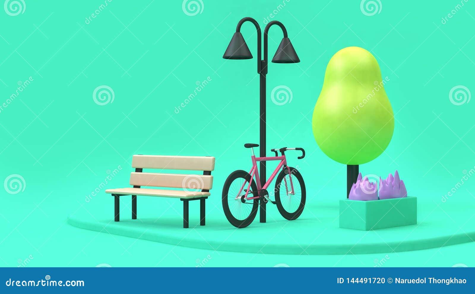El estilo rosado de la historieta de la bicicleta en los parques verdes 3d mínimo rinde concepto de la ciudad del ambiente de la