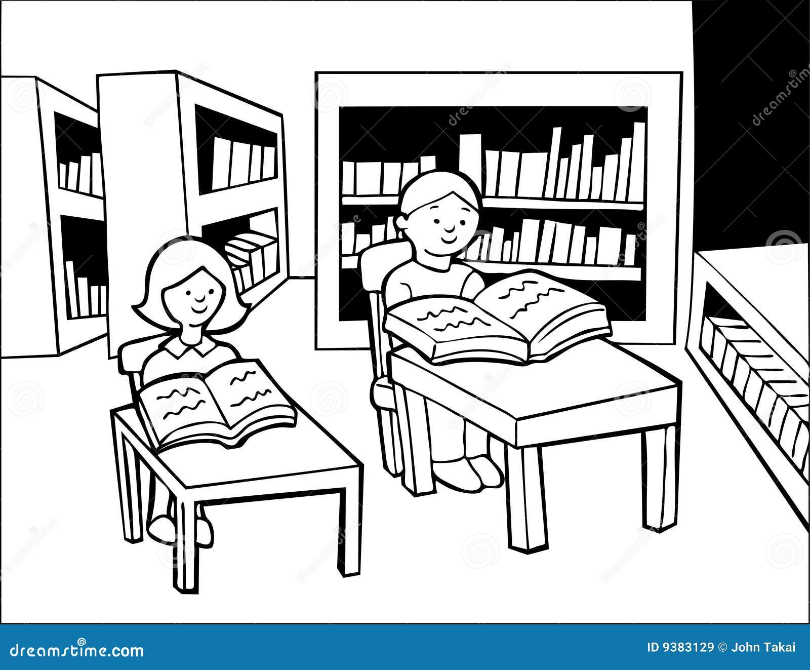 El estudiar de la biblioteca blanco y negro ilustraci n for Aparador blanco y negro