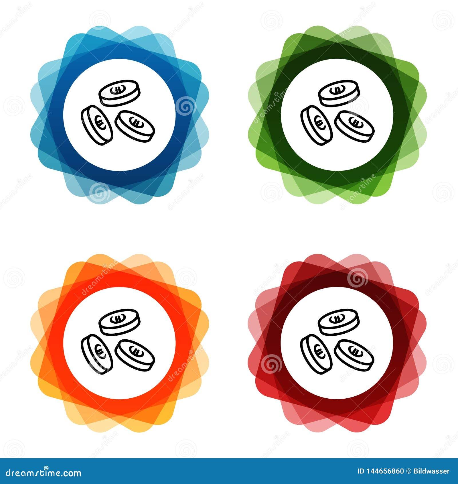 El euro que cae acu?a iconos Vector Eps10