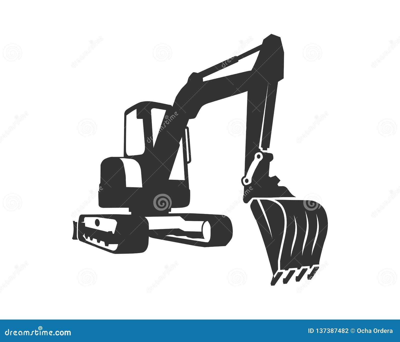 El excavador del negro de la silueta en un fondo blanco