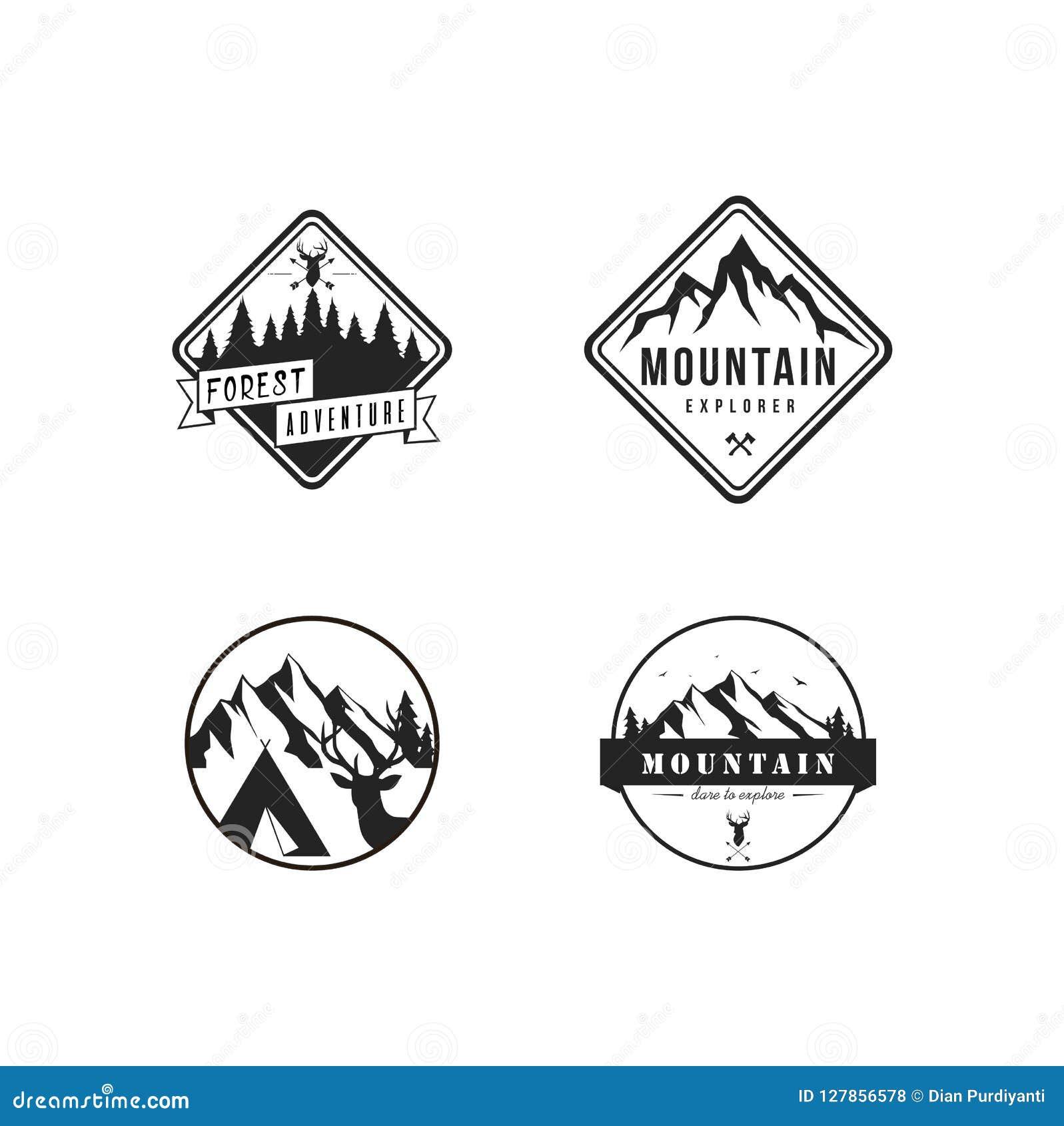 El explorador blanco y negro Adventure Logo, muestra de la montaña, Badge el sistema plano del diseño del vector