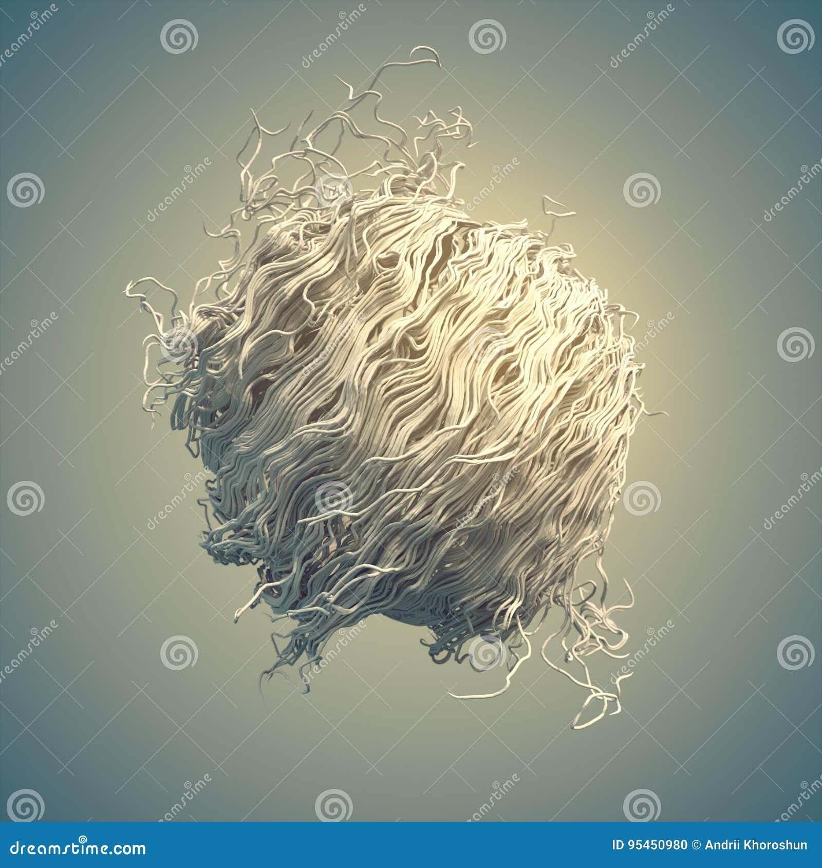 El extracto blanco del flujo del ruido del rizo alinea la representación 3d