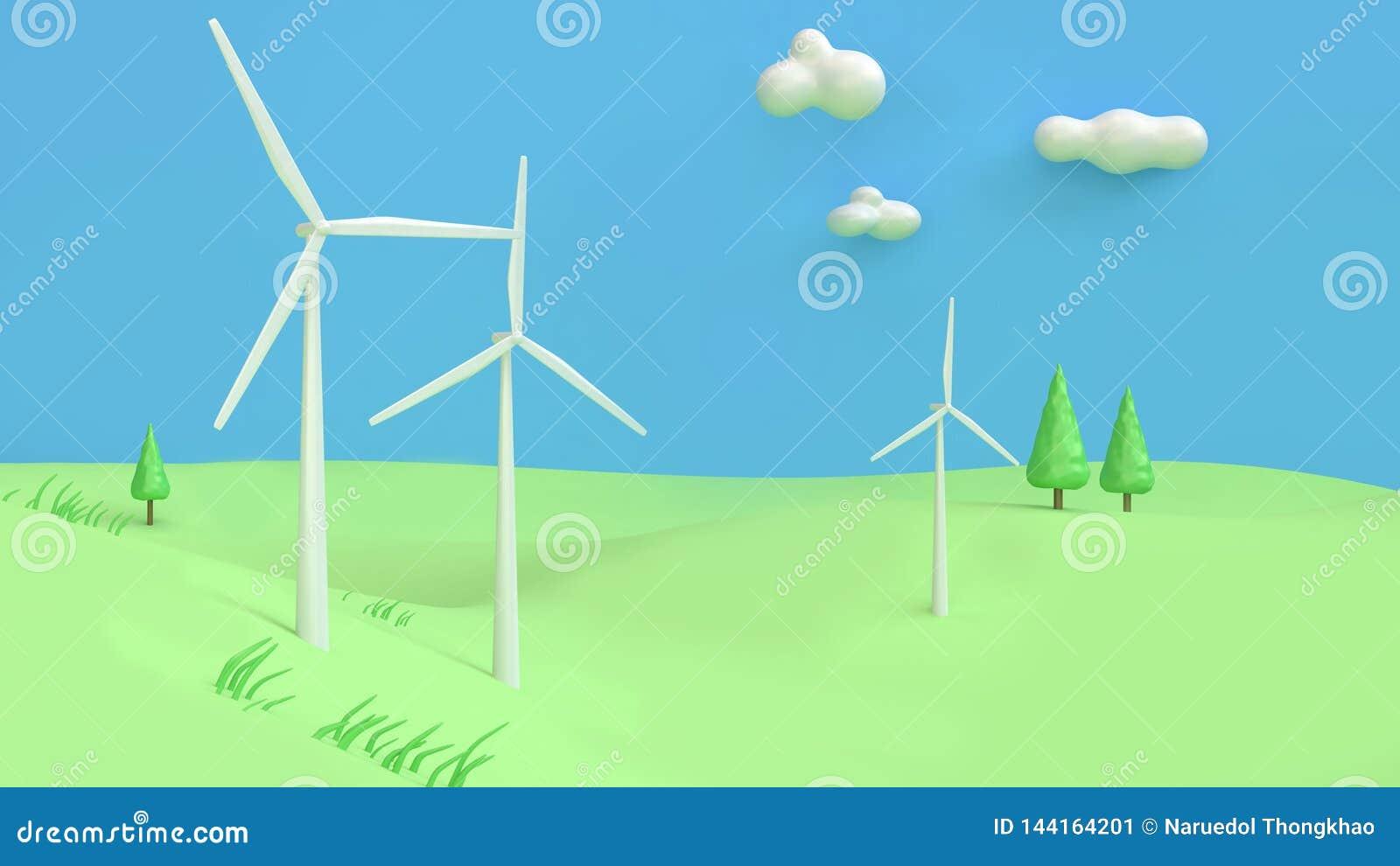 El extracto 3d del estilo de la historieta del cielo azul de la colina verde de la turbina de viento rinde, concepto de la tierra