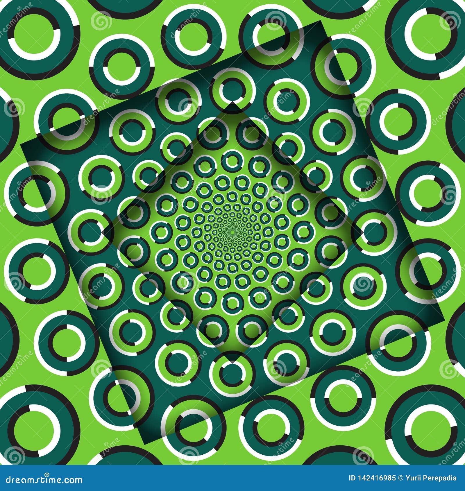 El extracto dio vuelta a marcos con un modelo verde giratorio de los anillos Fondo de la ilusión óptica