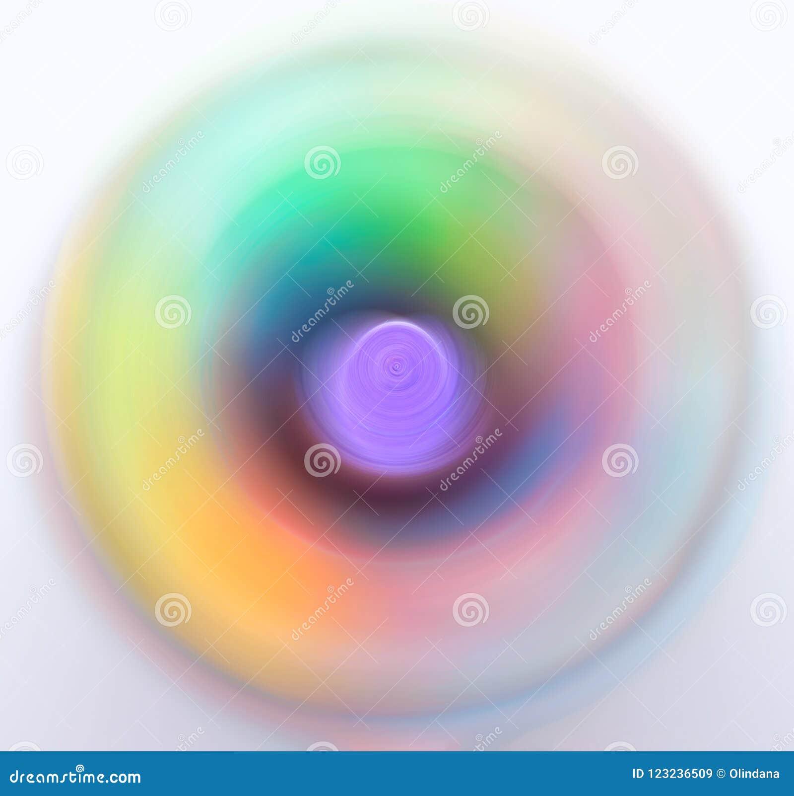 El extracto empañó colores en colores pastel vivos de neón girantes multicolores del espectro del fondo de los círculos concéntri