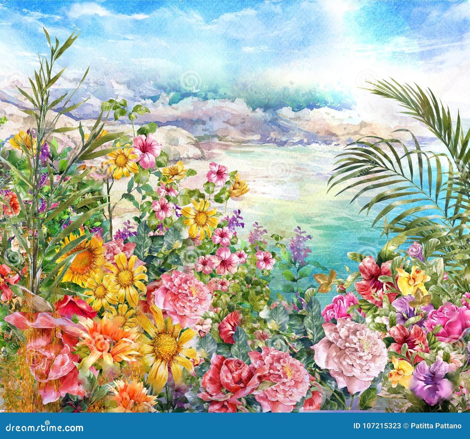 El extracto florece la pintura de la acuarela