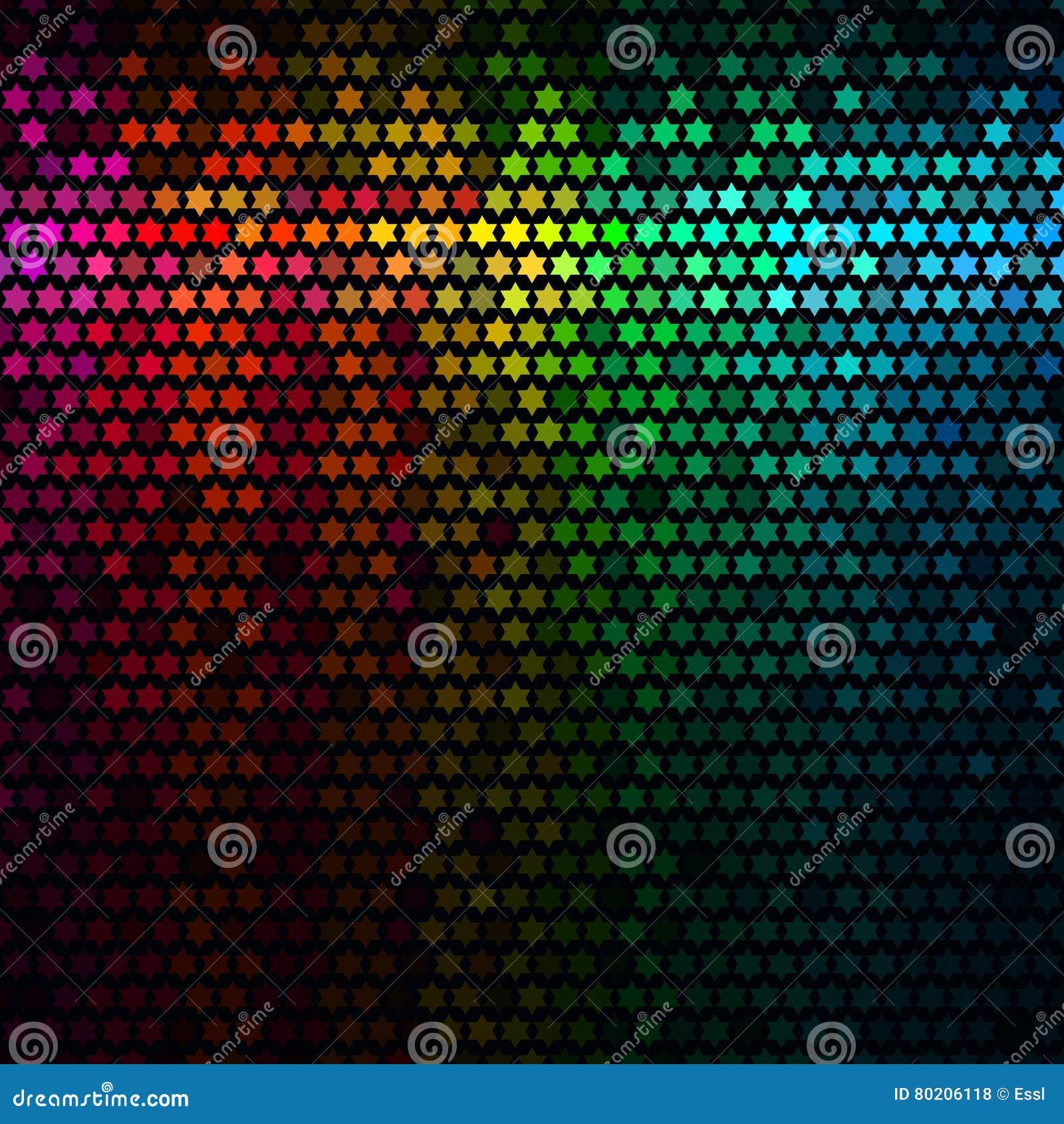 El extracto multicolor enciende el fondo del disco Vector del mosaico del pixel de la estrella