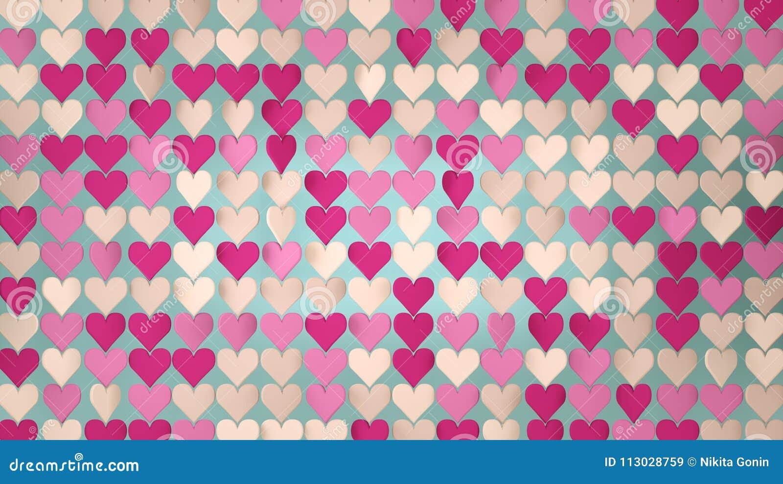 El extracto rosado 3D del arsenal de los corazones rinde el ejemplo