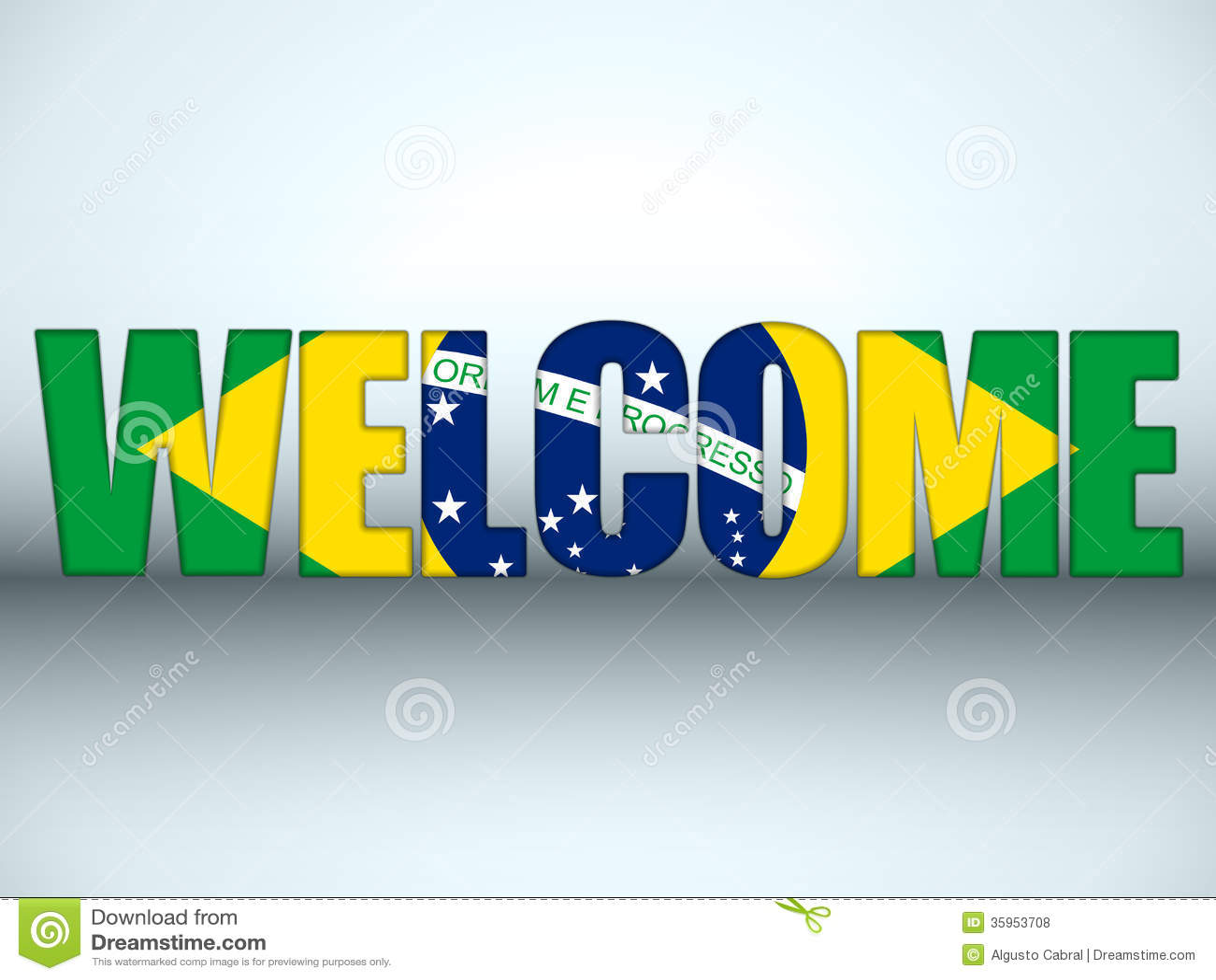 El fútbol de la recepción de la bandera del Brasil pone letras al fondo