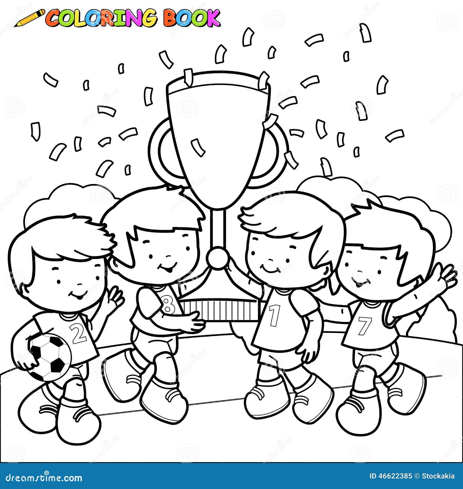 El Fútbol Del Libro De Colorear Embroma A Ganadores Ilustración del ...
